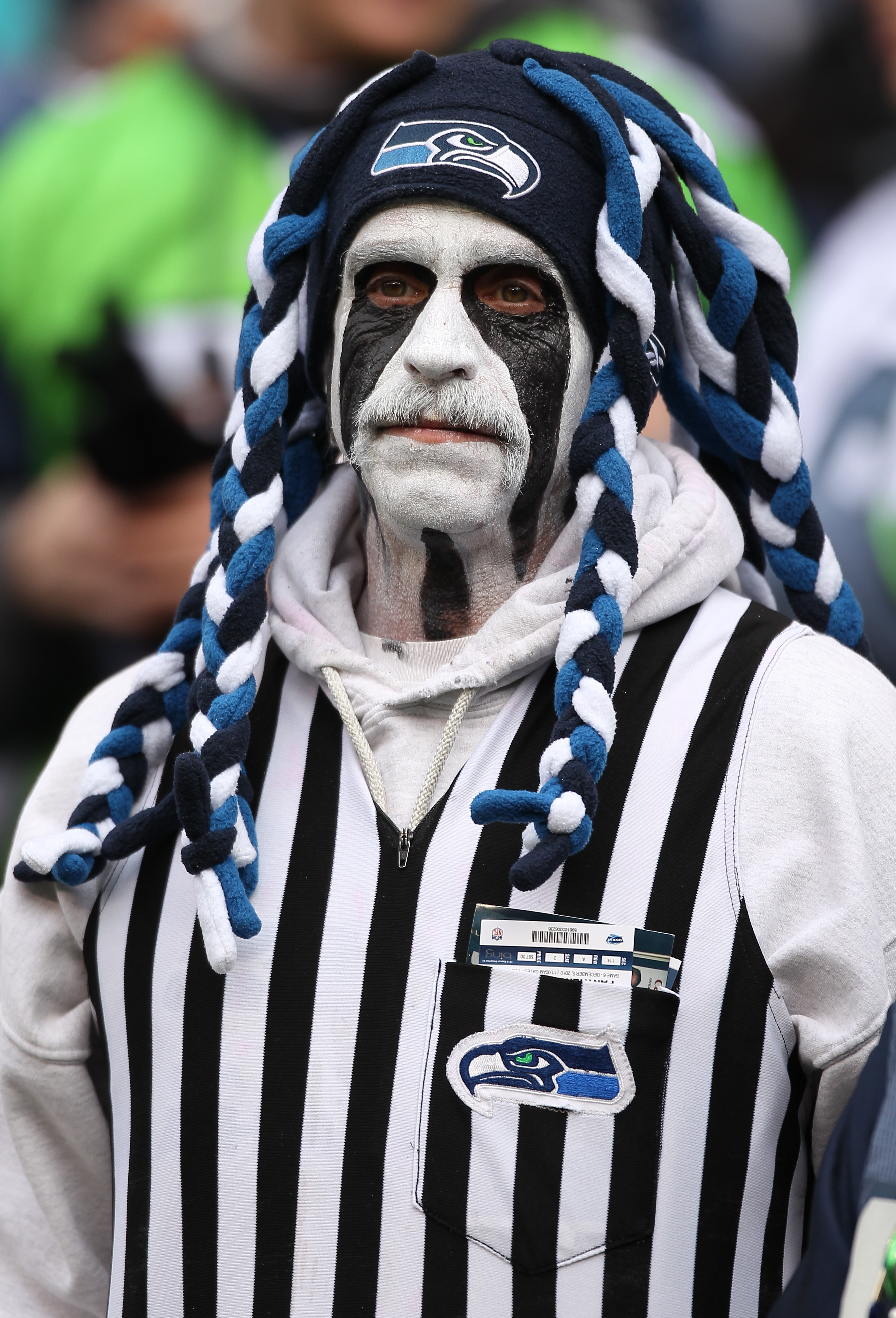 SEATTLE - DECEMBER 05:  A fan of the Seattle Seahawks looks on during the game against the Carolina Panthers at Qwest Field on December 5, 2010 in Seattle, Washington. The Seahawks won, 31-14. (Photo by Otto Greule Jr/Getty Images)
