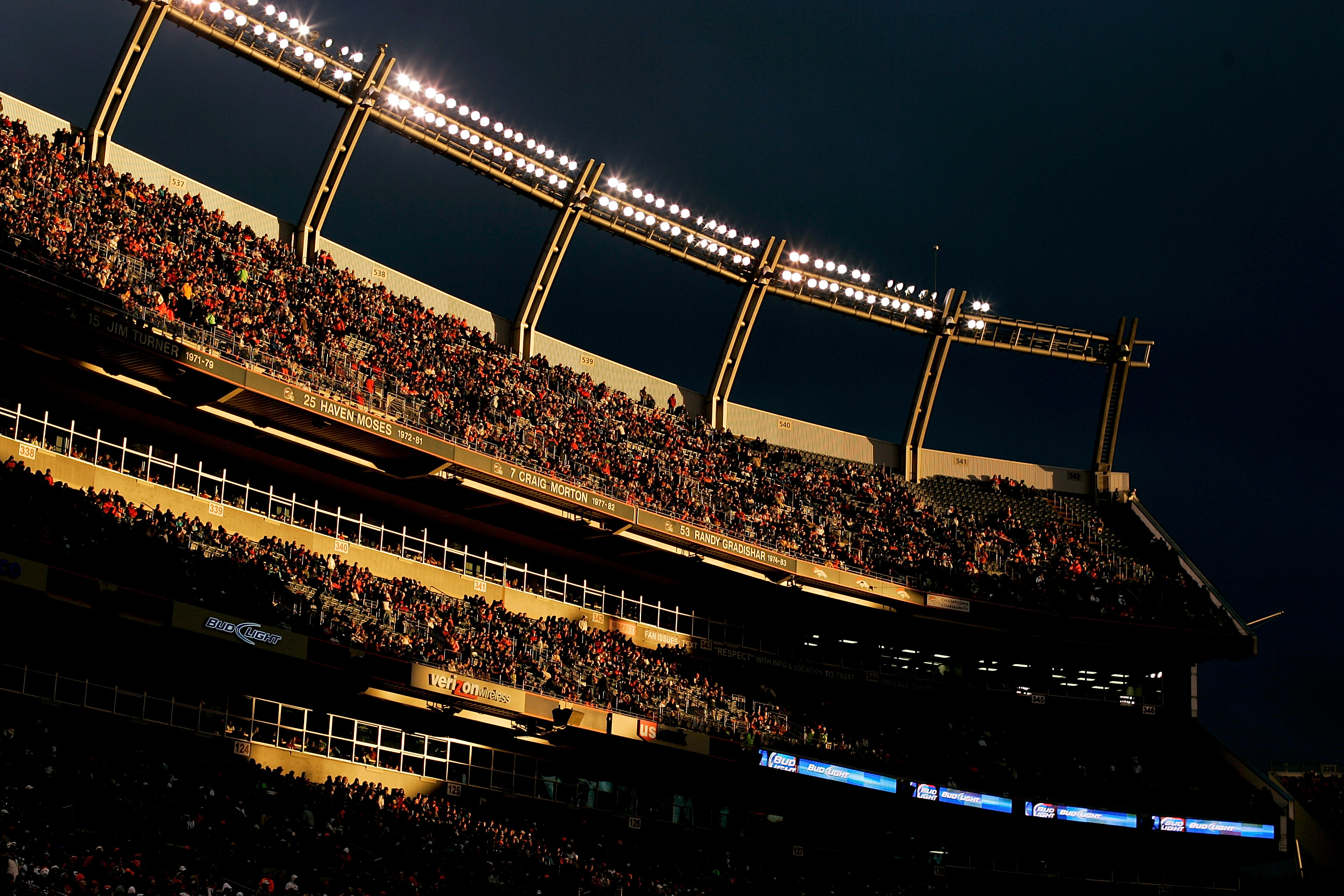 DENVER - NOVEMBER 28:  The sun illuminates a portion of the east stands in the third quarter of an NFL game between the St. Louis Rams and Denver Broncos at INVESCO Field at Mile High on November 28, 2010 in Denver, Colorado. The Rams defeated the Broncos