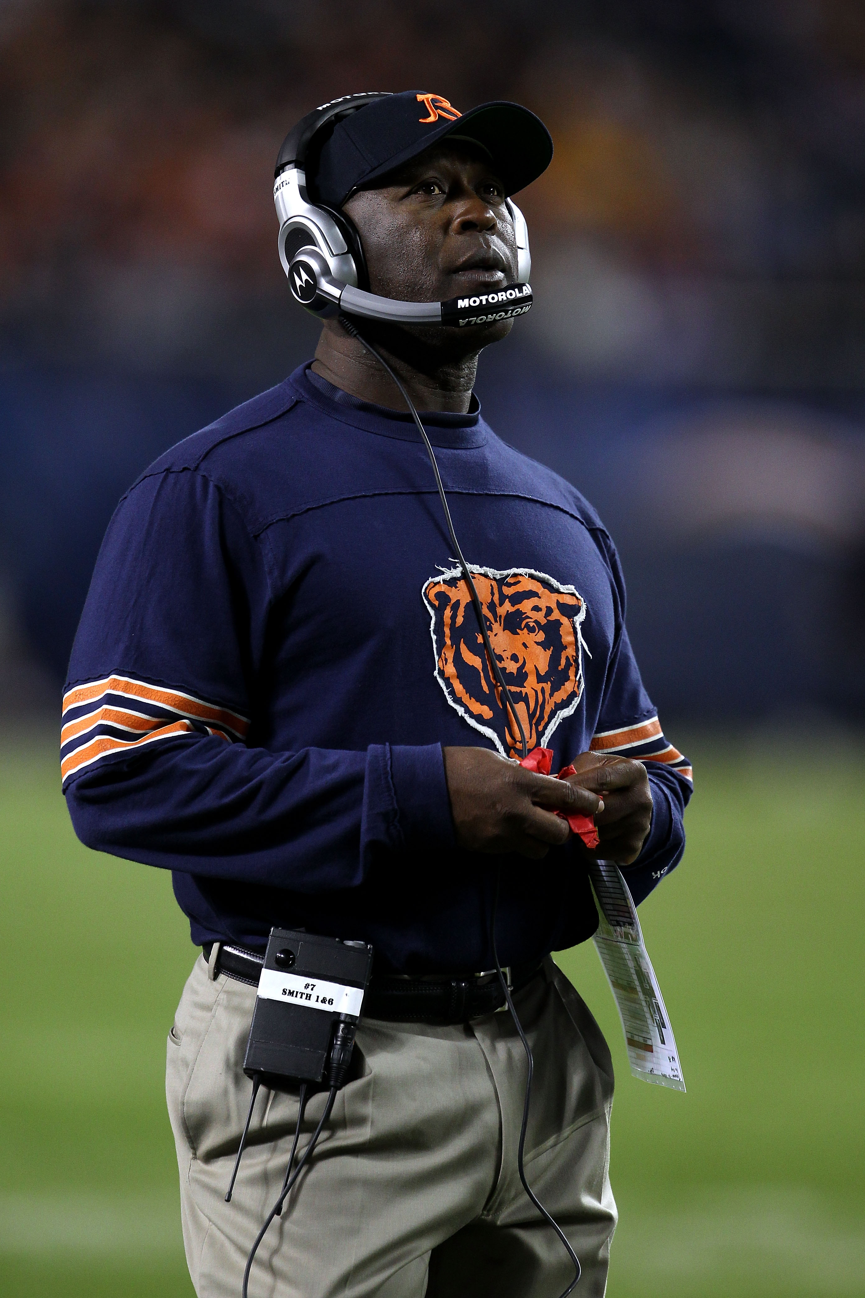 CHICAGO - SEPTEMBER 27:  Head coach Lovie Smith of the Chicago Bears looks on against the Green Bay Packers at Soldier Field on September 27, 2010 in Chicago, Illinois.  (Photo by Jonathan Daniel/Getty Images)