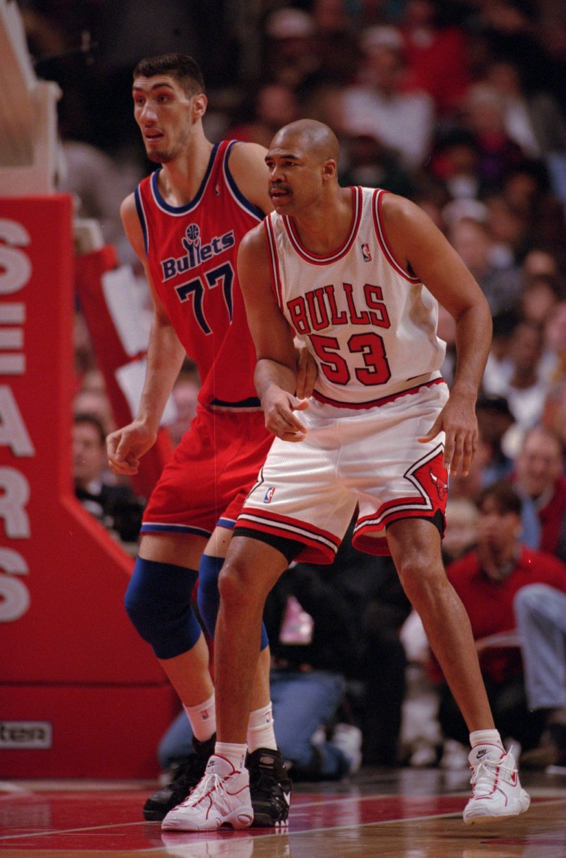 13 Feb 1996:  Center James Edwards of the Chicago Bulls posts up defender Gheorghe Muresan during the Bulls 111-98 win over the Washington Bullets at the United Center in Chicago, Illinois.   Mandatory Credit: Jonathan Daniel/ALLSPORT