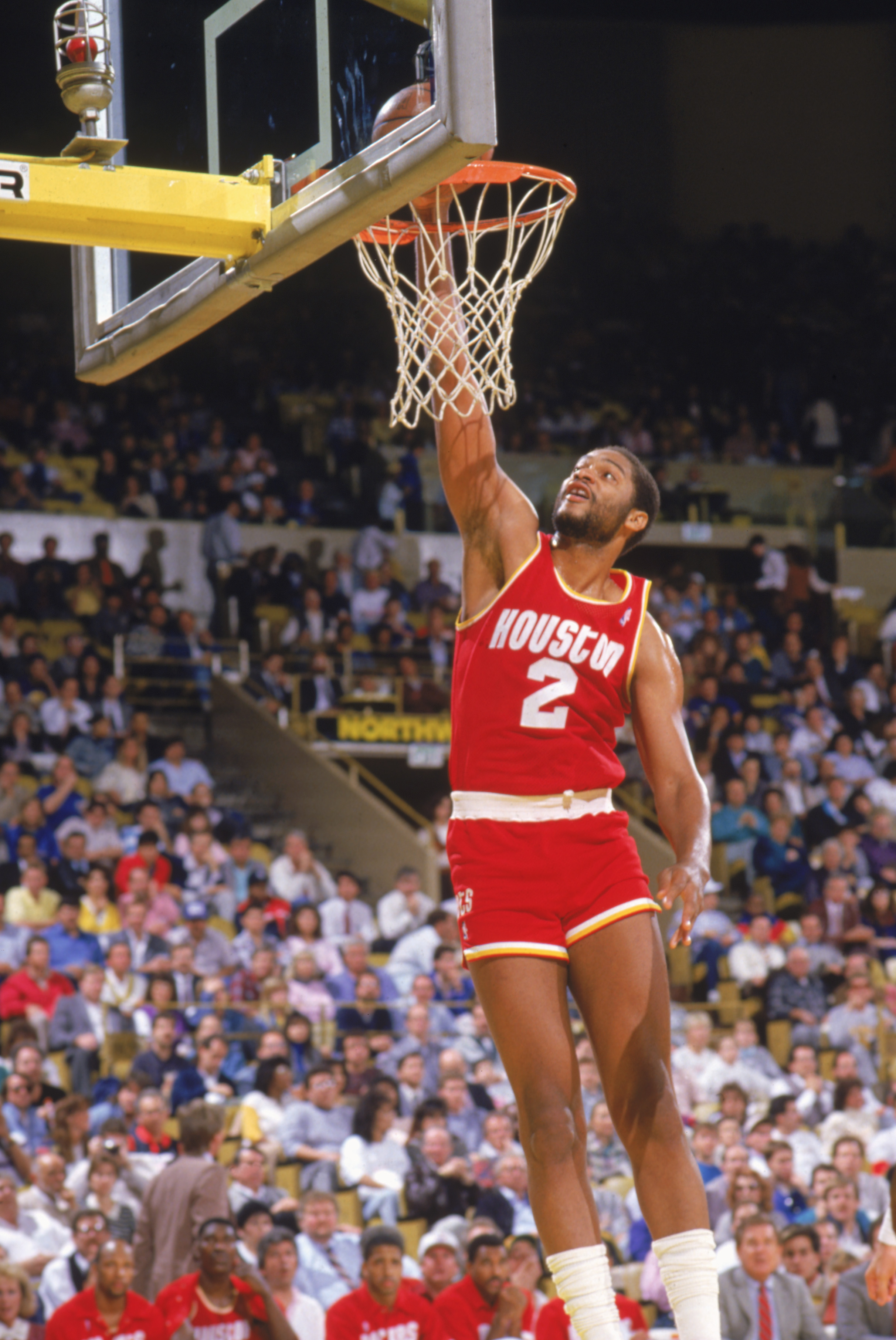INGLEWOOD -1987:  Joe Barry Carroll #2 of the Houston Rockets dunks during a game in the1987-88 season. NOTE TO USER: User expressly acknowledges and agrees that, by downloading and/or using this Photograph, User is consenting to the terms and conditions