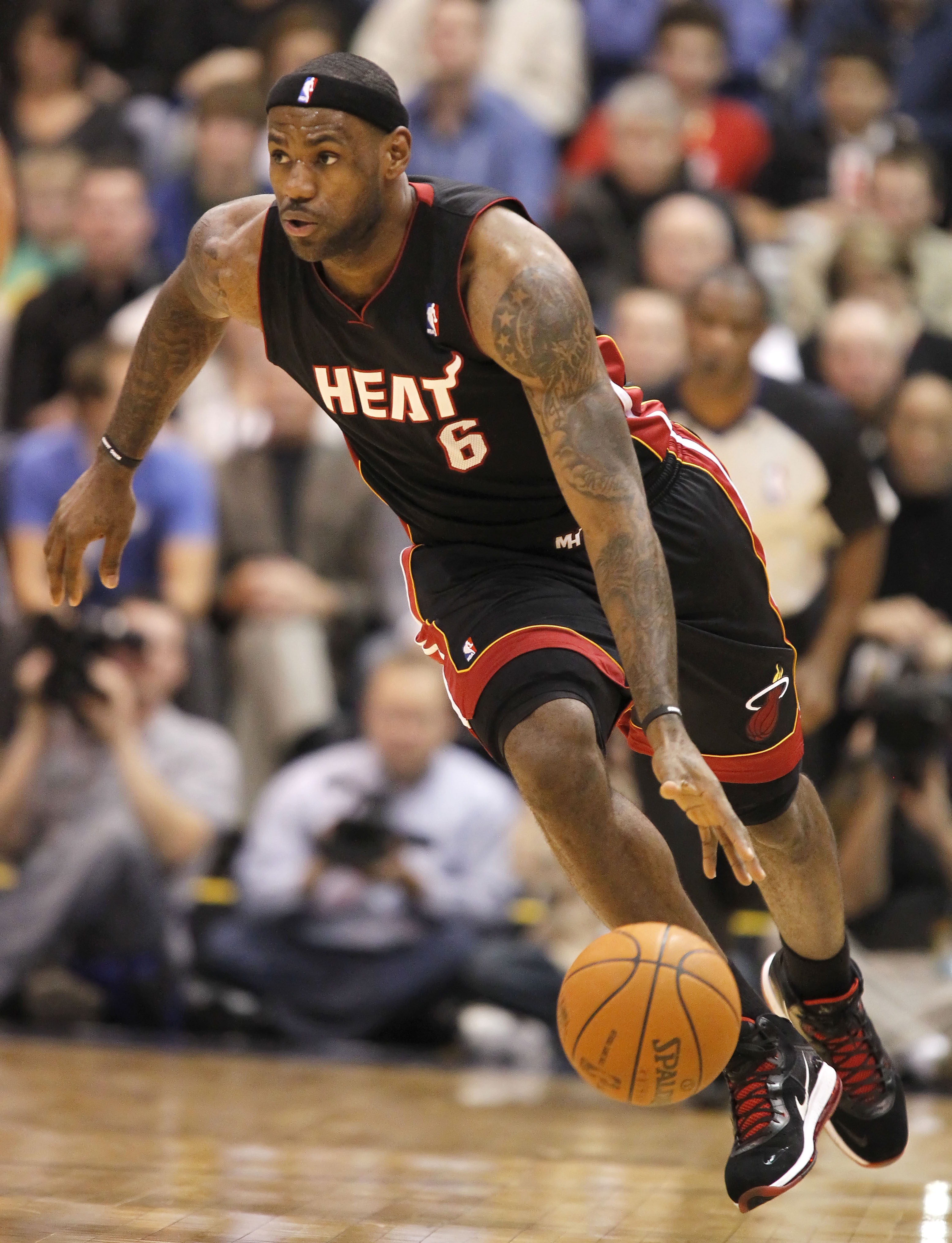 SALT LAKE CITY, UT - DECEMBER 8: LeBron James #6 of the Miami Heat  brings the ball down court during a game against the Utah Jazz during the first half of an NBA game December 8, 2010 at Energy Solutions Arena in Salt Lake City, Utah. NOTE TO USER:  User
