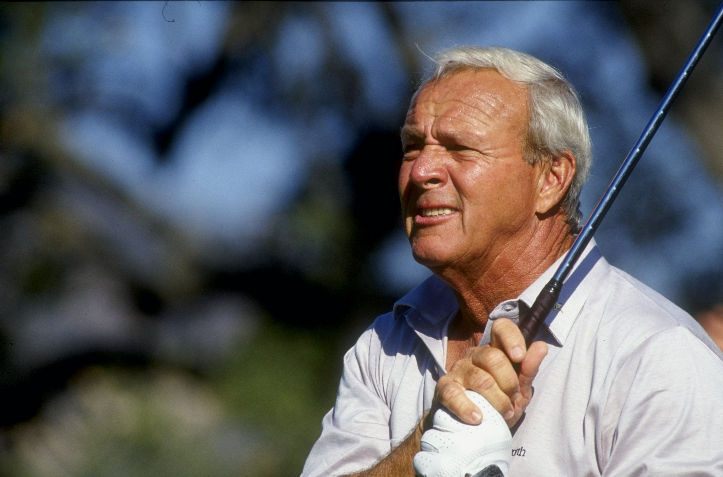 1990:  Arnold Palmer watches his shot during the 1990 RMCC Invitational at the Sherwood Country Club in Thousand Oaks, California. Mandatory Credit: Stephen Dunn  /Allsport