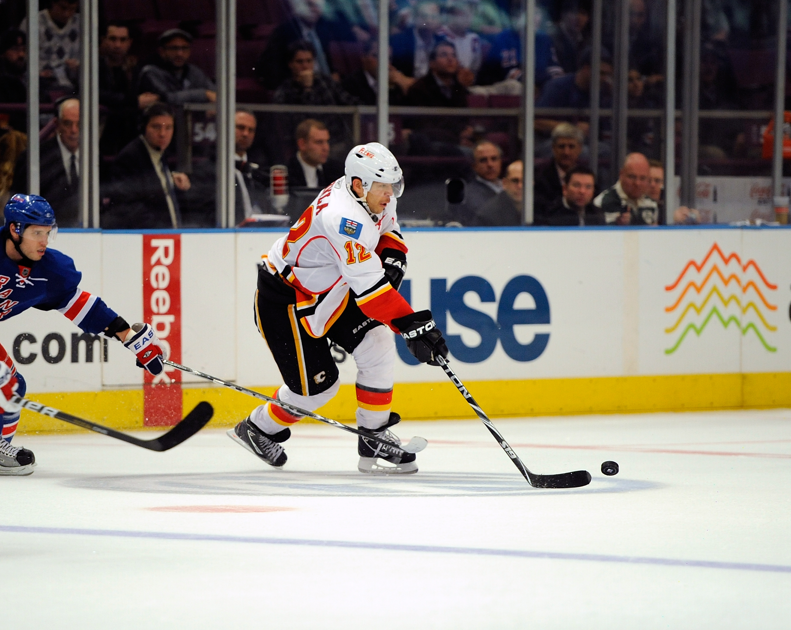 NEW YORK - NOVEMBER 22: Jerome Iginla #12 of the Calgary Flames in action against the New York Rangers  on November 22, 2010 at Madison Square Garden in New York City.  (Photo by Lou Capozzola/Getty Images)