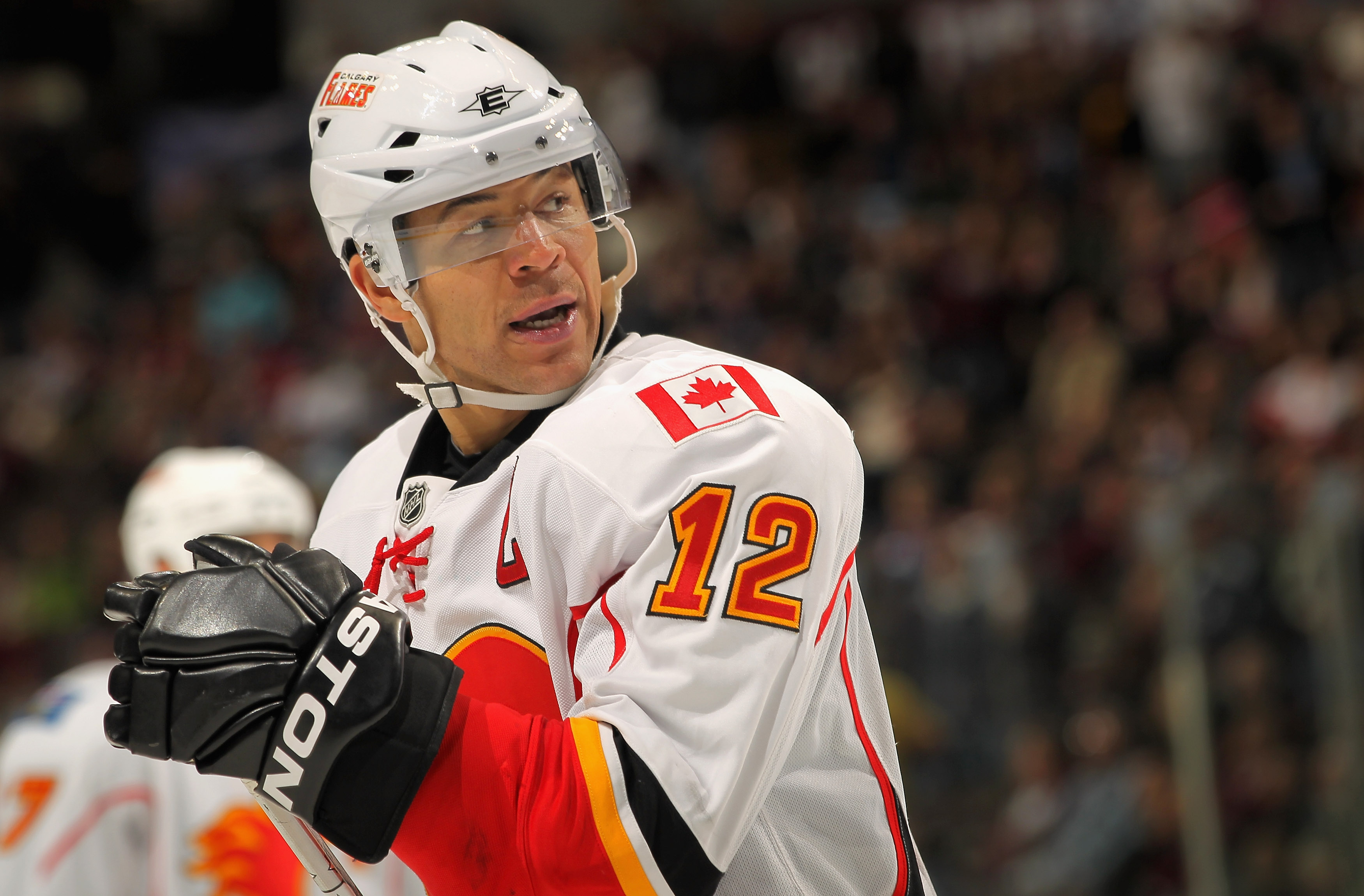 DENVER - NOVEMBER 09:  Jarome Iginla #12 of the Calgary Flames skates against the Colorado Avalanche at the Pepsi Center on November 9, 2010 in Denver, Colorado. The Flames defeated the Avalanche 4-2.  (Photo by Doug Pensinger/Getty Images)