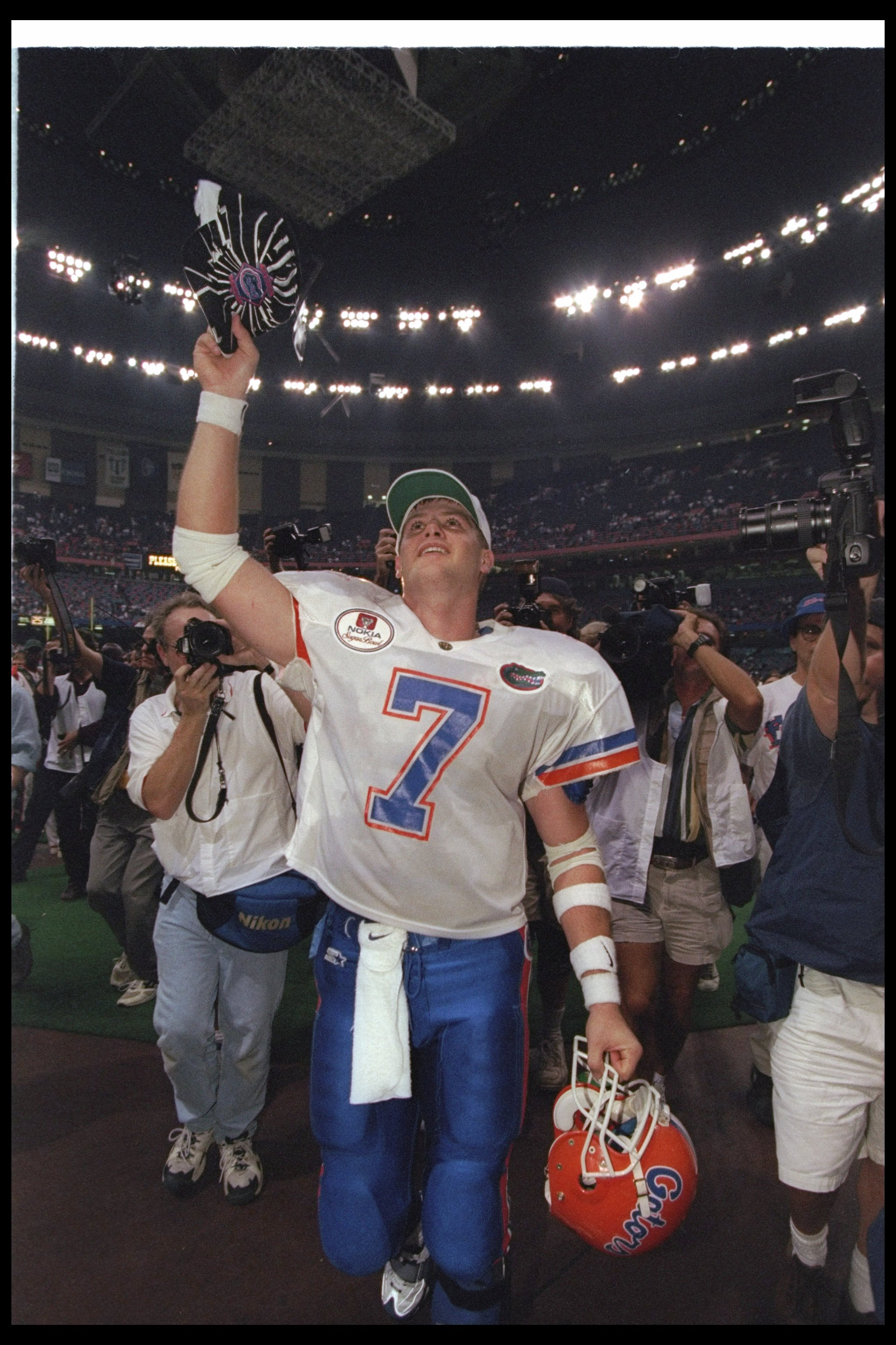 2 Jan 1997:  Quarterback Danny Wuerffel of the Florida Gators celebrates after the Nokia Sugar Bowl against the Floirda State Seminoles at the Superdome in New Orleans, Louisiana.  Florida won the game, 52-20. Mandatory Credit: Brian Bahr  /Allsport
