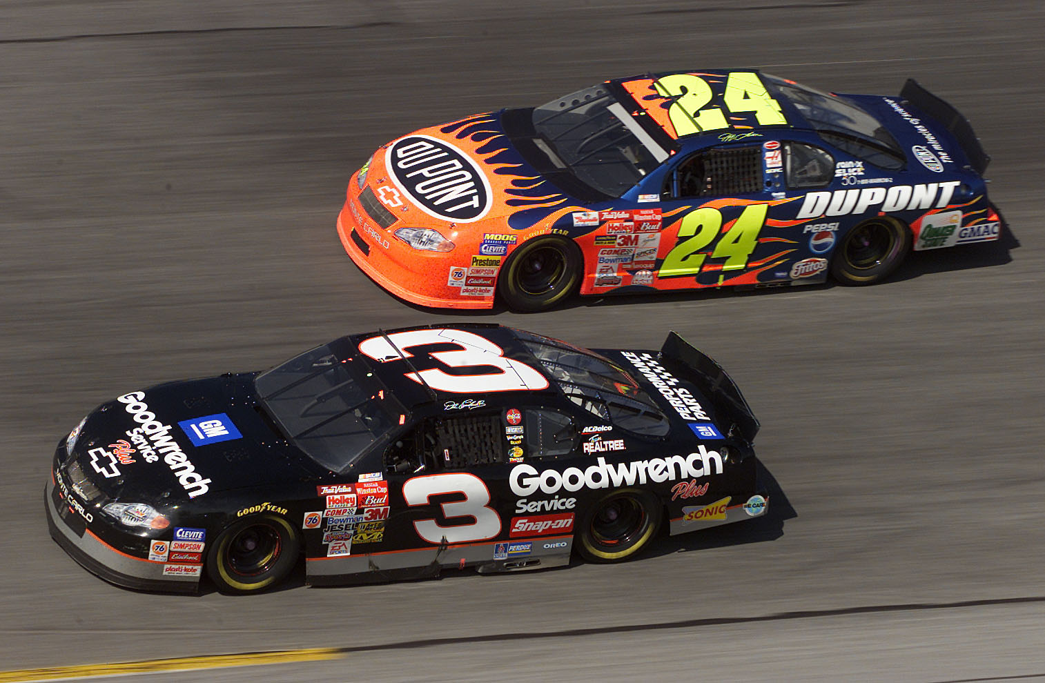 18 Feb 2001: Dale Earnhardt in the #3 GM Goodwrench Chevrolet dices with Jeff Gordon in the #24 DuPont Chevrolet during the NASCAR Winston Cup Daytona 500 at the Daytona International Speedway in Daytona Beach, Florida.  DIGITAL IMAGE. Mandatory Credit: J
