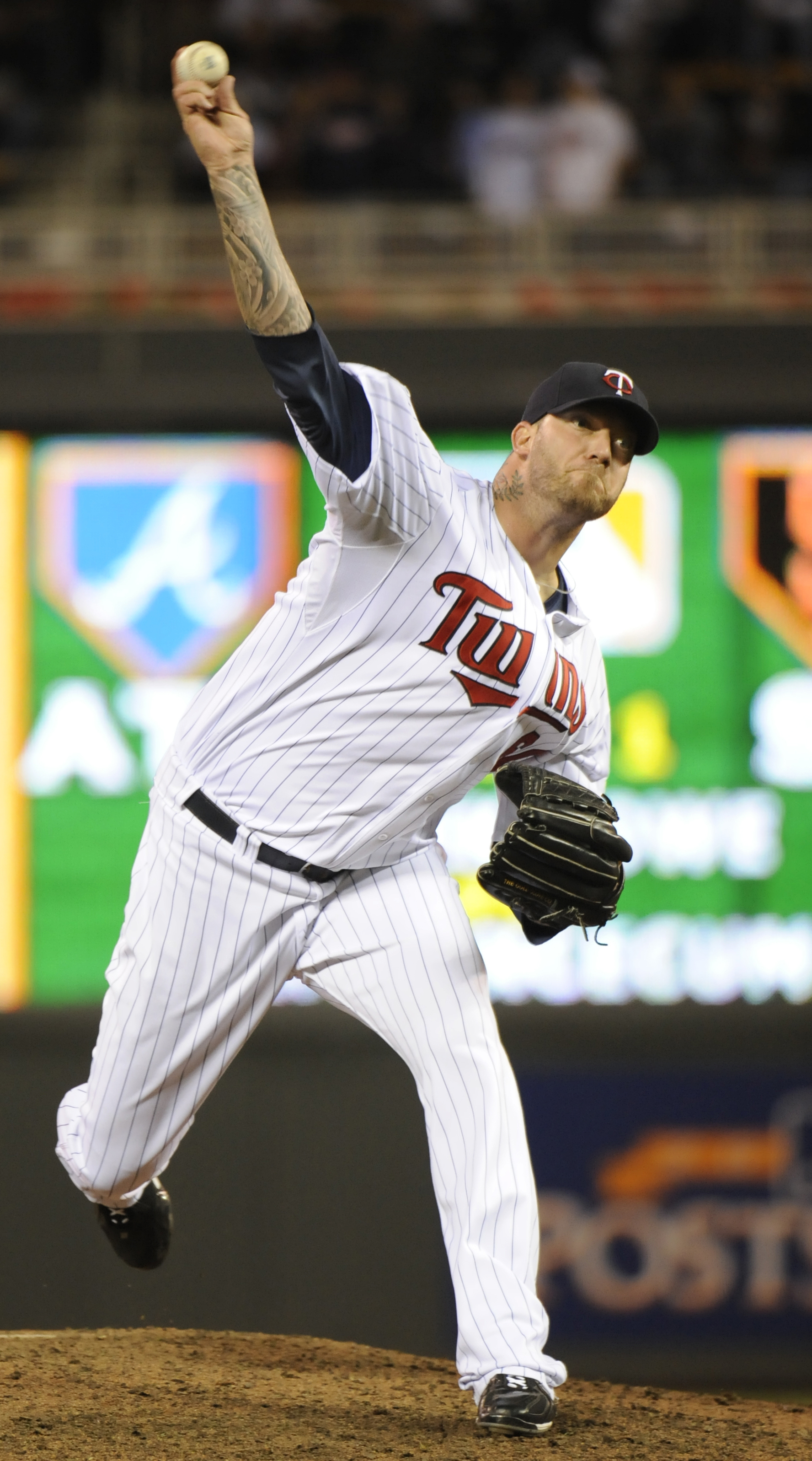 MINNEAPOLIS, MN - OCTOBER 6: Jon Rauch #60 of the Minnesota Twins pitches during game one of the ALDS against the New York Yankees on October 6, 2010 at Target Field in Minneapolis, Minnesota. (Photo by Hannah Foslien /Getty Images)