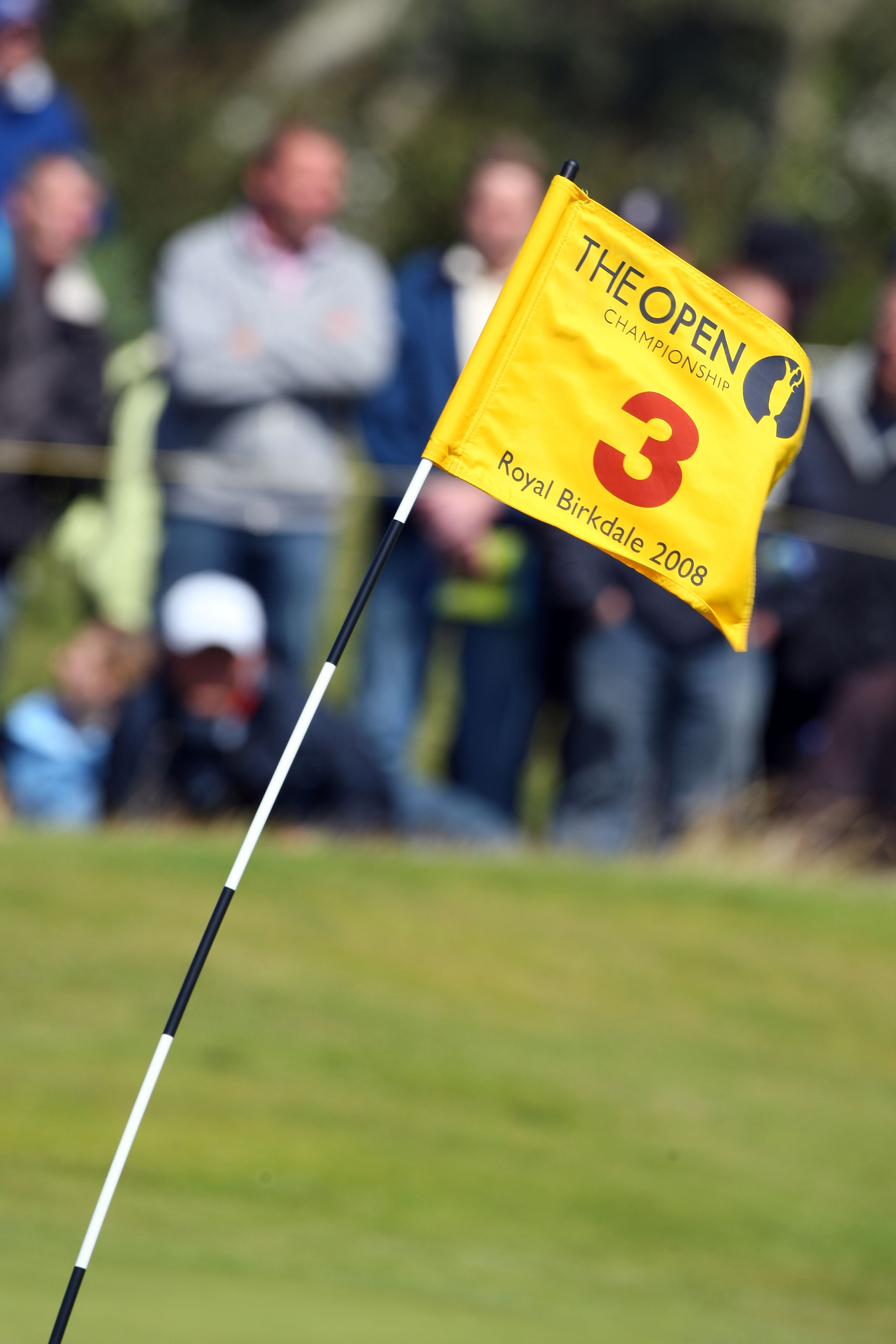 SOUTHPORT, UNITED KINGDOM - JULY 19:  The wind blows the flagstick on the 3rd green during the third round of the 137th Open Championship on July 19, 2008 at Royal Birkdale Golf Club, Southport, England.  (Photo by Stuart Franklin/Getty Images)