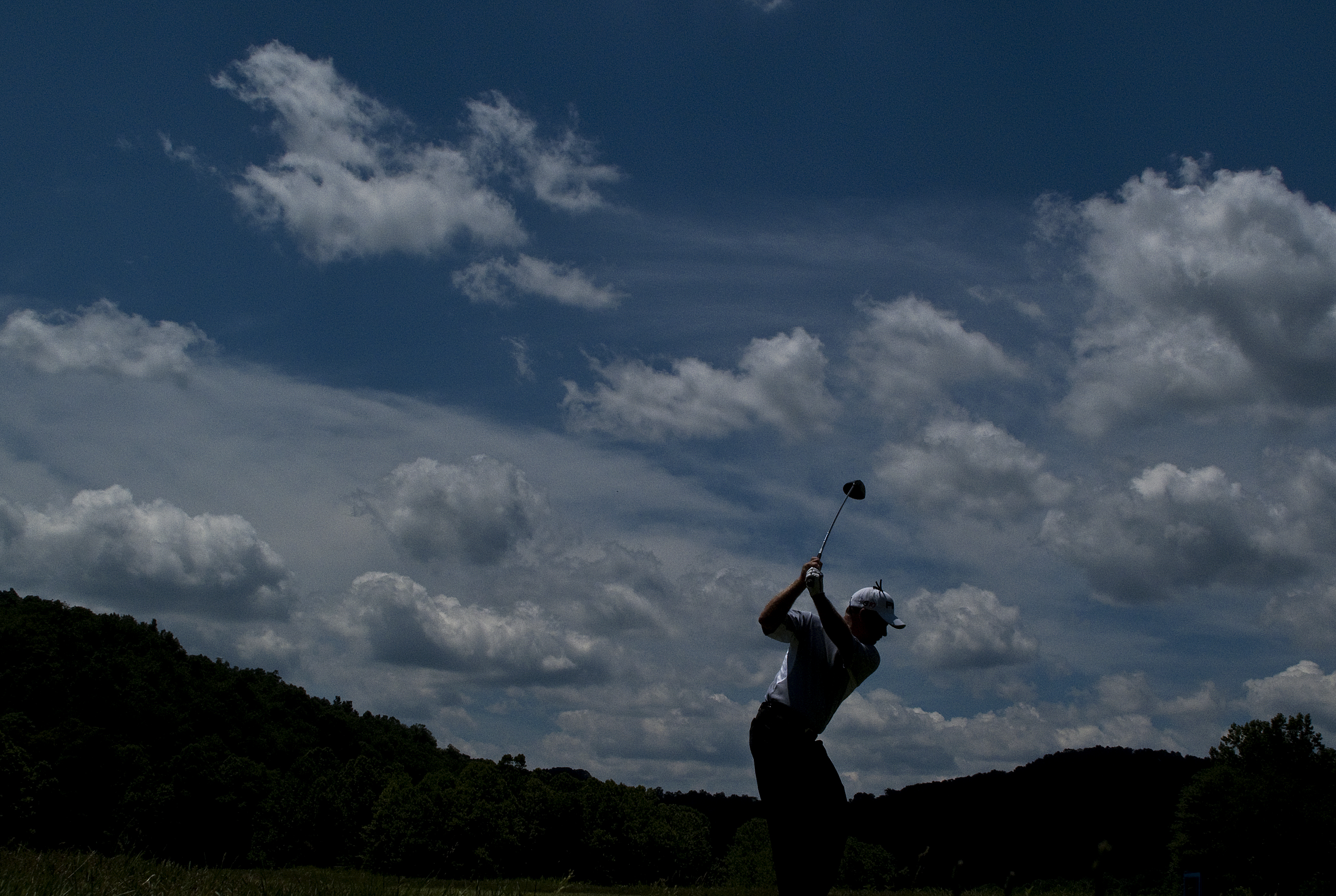 BRIDGEPORT, WV - JUNE 27: Bob May tee's off on the sixth hole during the third round of the Nationwide Tour Players Cup at Pete Dye Golf Club on June 27, 2009 in Bridgeport, West Virginia. (Photo by Chris Keane/Getty Images)