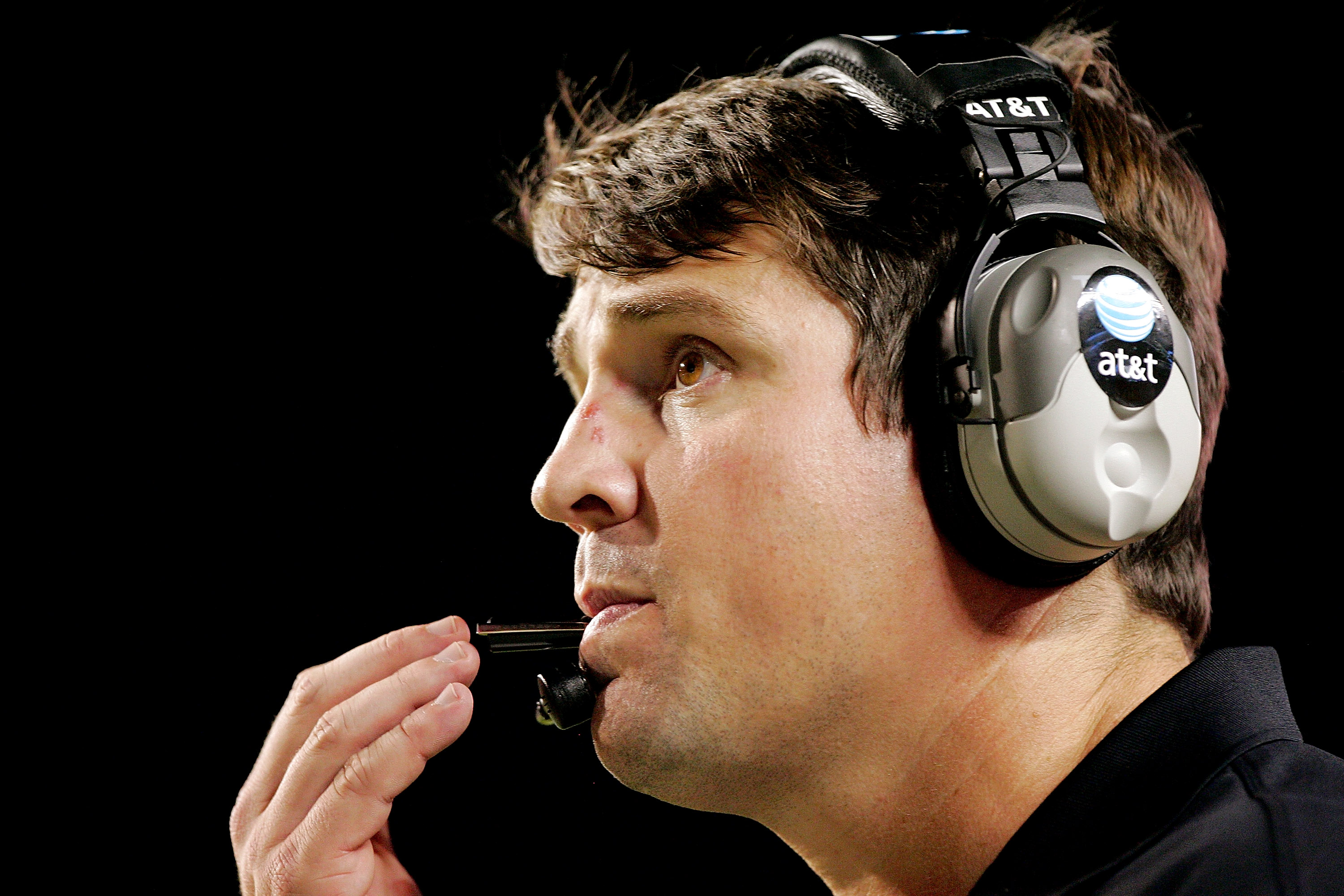 AUSTIN, TX - OCTOBER 18: Defensive coordinator Will Muschamp of the Texas Longhorns works from the sideline against the Missouri Tigers in the fourth quarter on October 18, 2008 at Darrell K Royal-Texas Memorial Stadium in Austin, Texas. Texas won 56-31.