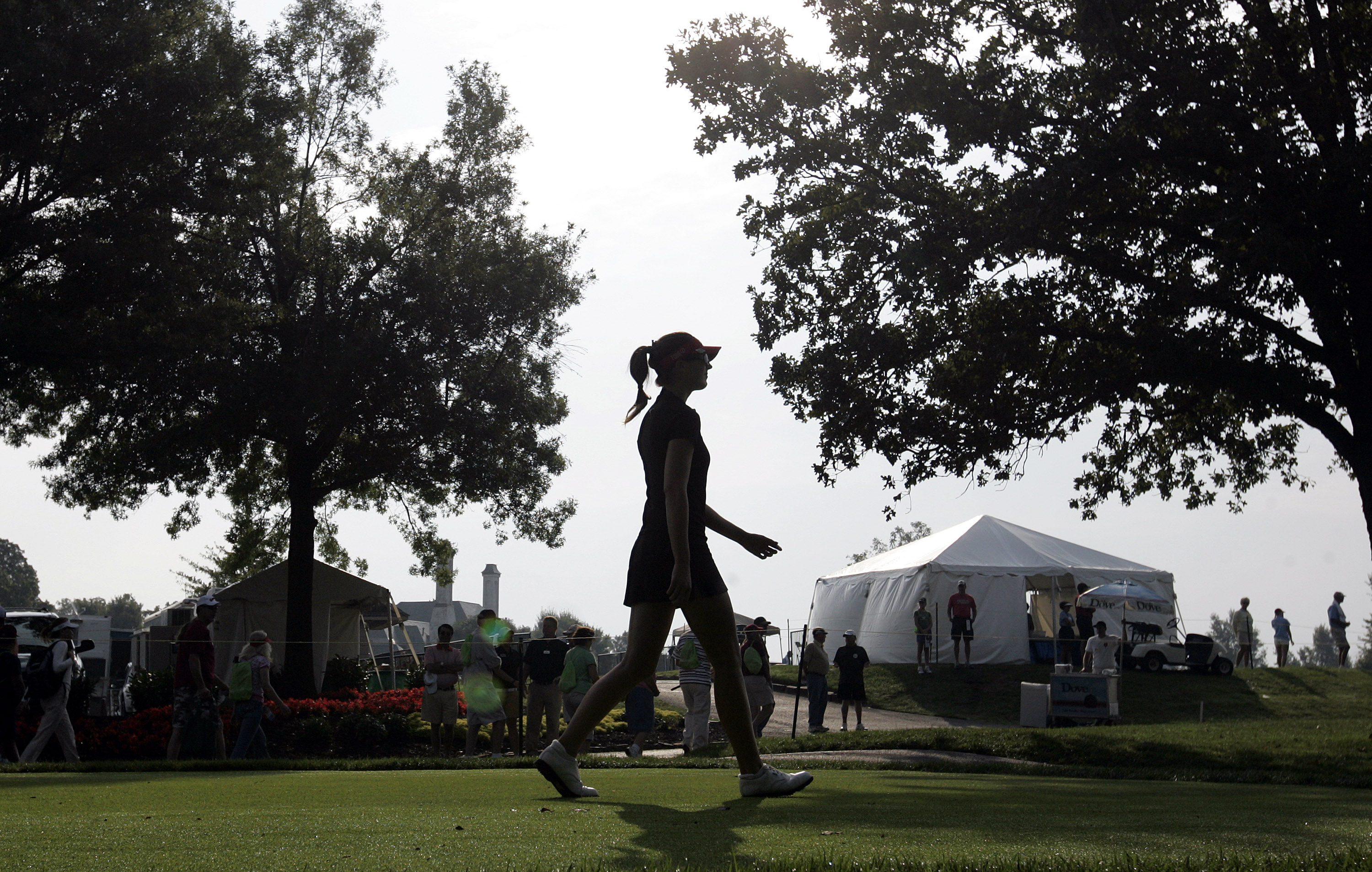 ROGERS, AR - SEPTEMBER 12:  Sandra Gal of Germany walks off the first tee during second round play in the P&G Beauty NW Arkansas Championship at the Pinnacle Country Club on September 12, 2009 in Rogers, Arkansas.  (Photo by Dave Martin/Getty Images)