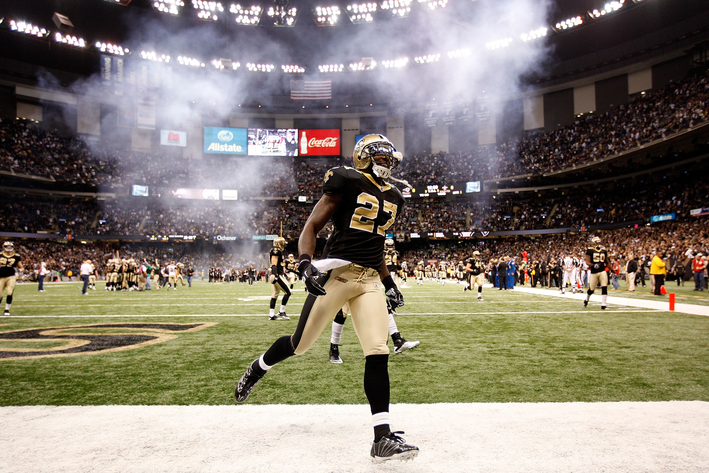 NEW ORLEANS, LA - DECEMBER 12:  Malcom Jenkins #27 of the New Orleans Saints runs onto the field before playing the St. Louis Rams at the Louisiana Superdome on December 12, 2010 in New Orleans, Louisiana.  (Photo by Chris Graythen/Getty Images)
