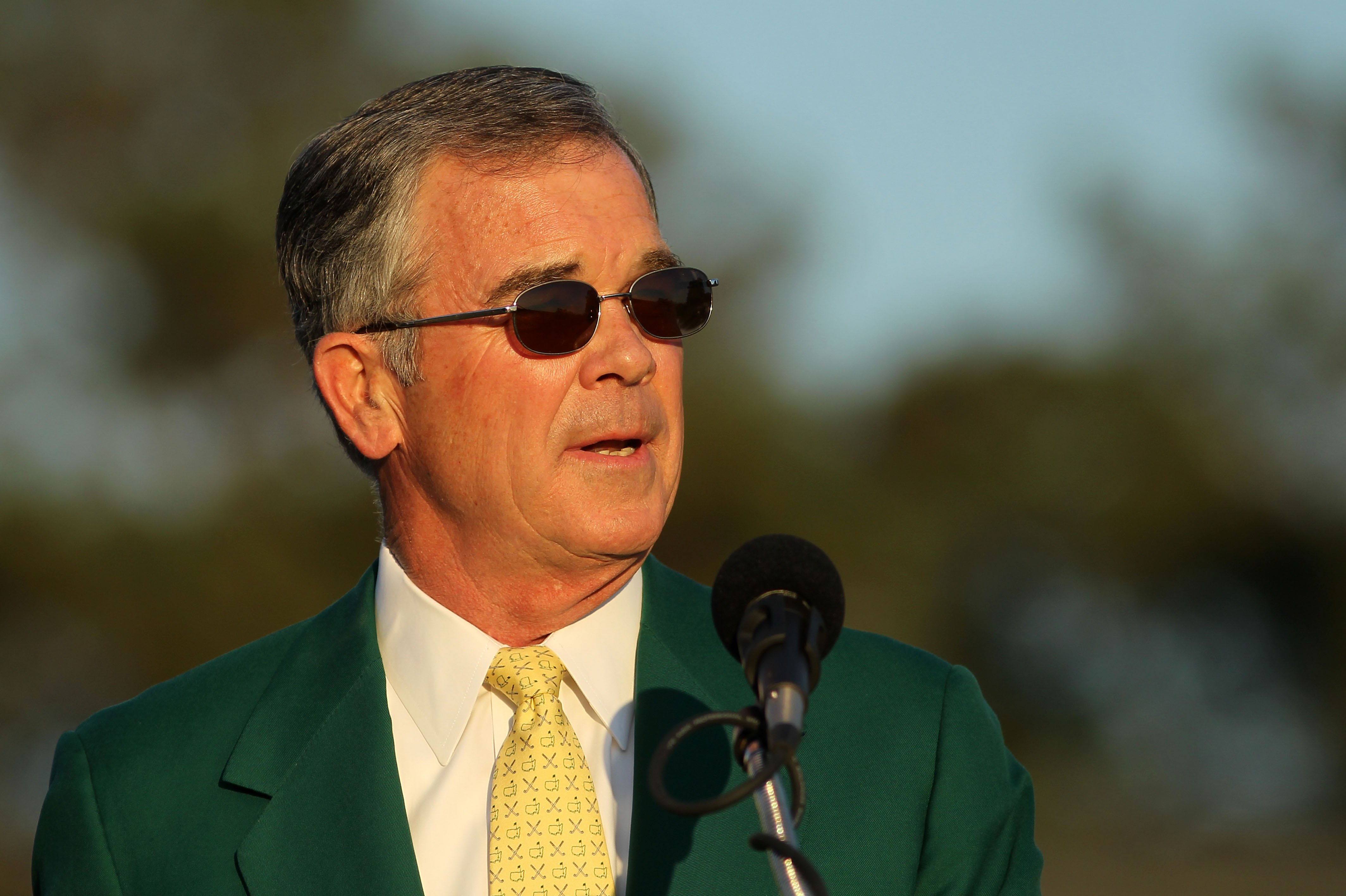 AUGUSTA, GA - APRIL 11:  Augusta National Chairman William Porter 'Billy' Payne speaks to the gallery during the green jacket presentation after the final round of the 2010 Masters Tournament at Augusta National Golf Club on April 11, 2010 in Augusta, Geo