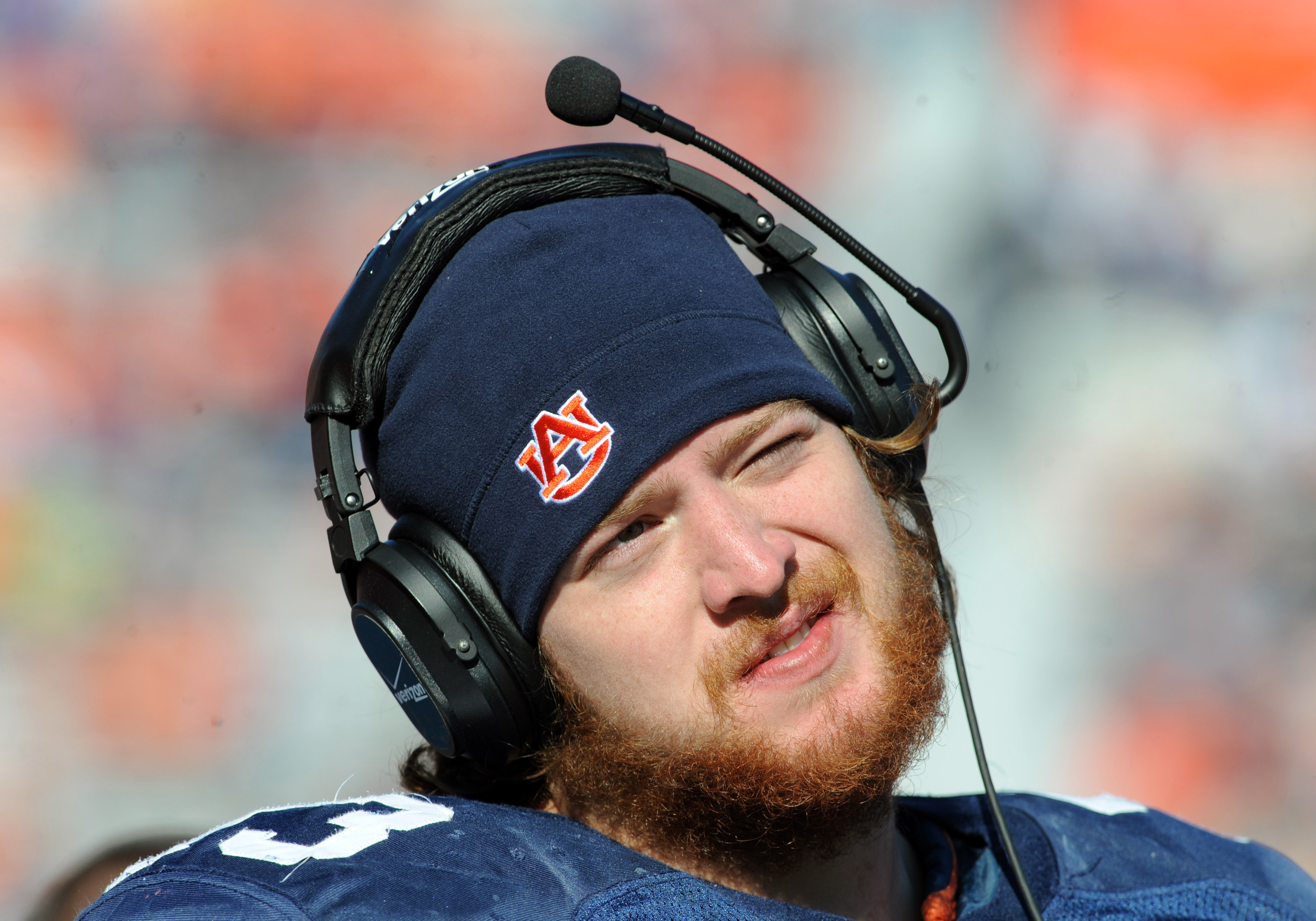 AUBURN, AL - NOVEMBER 6:  Offensive lineman Lee Ziemba #73 of the Auburn Tigers checks the scoreboard during play against the Chattanooga Mocs November 6, 2010 at Jordan-Hare Stadium in Auburn, Alabama.  (Photo by Al Messerschmidt/Getty Images)