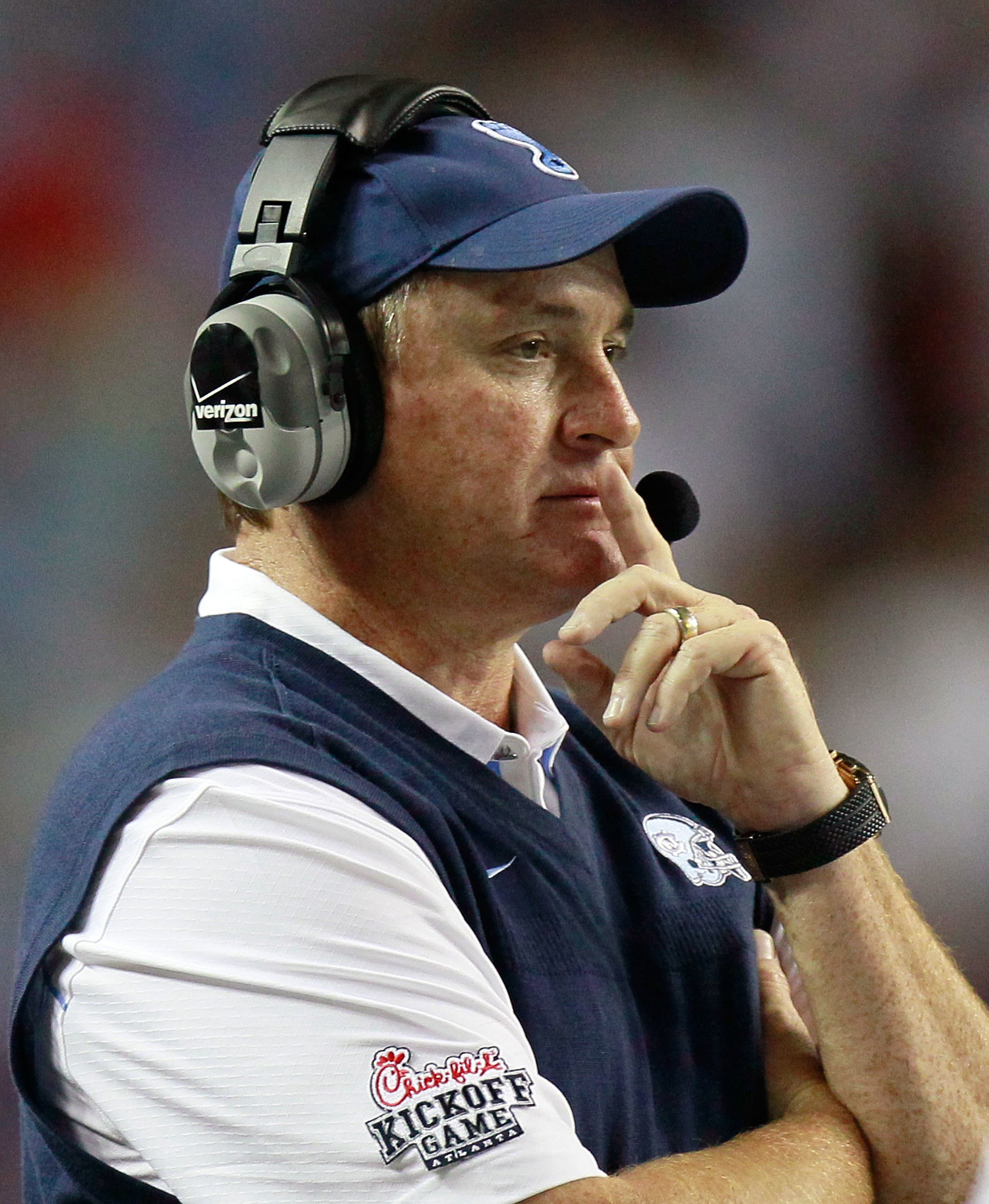 ATLANTA - SEPTEMBER 04:  Head coach Butch Davis of the North Carolina Tar Heels against the LSU Tigers during the Chick-fil-A Kickoff Game at Georgia Dome on September 4, 2010 in Atlanta, Georgia.  (Photo by Kevin C. Cox/Getty Images)