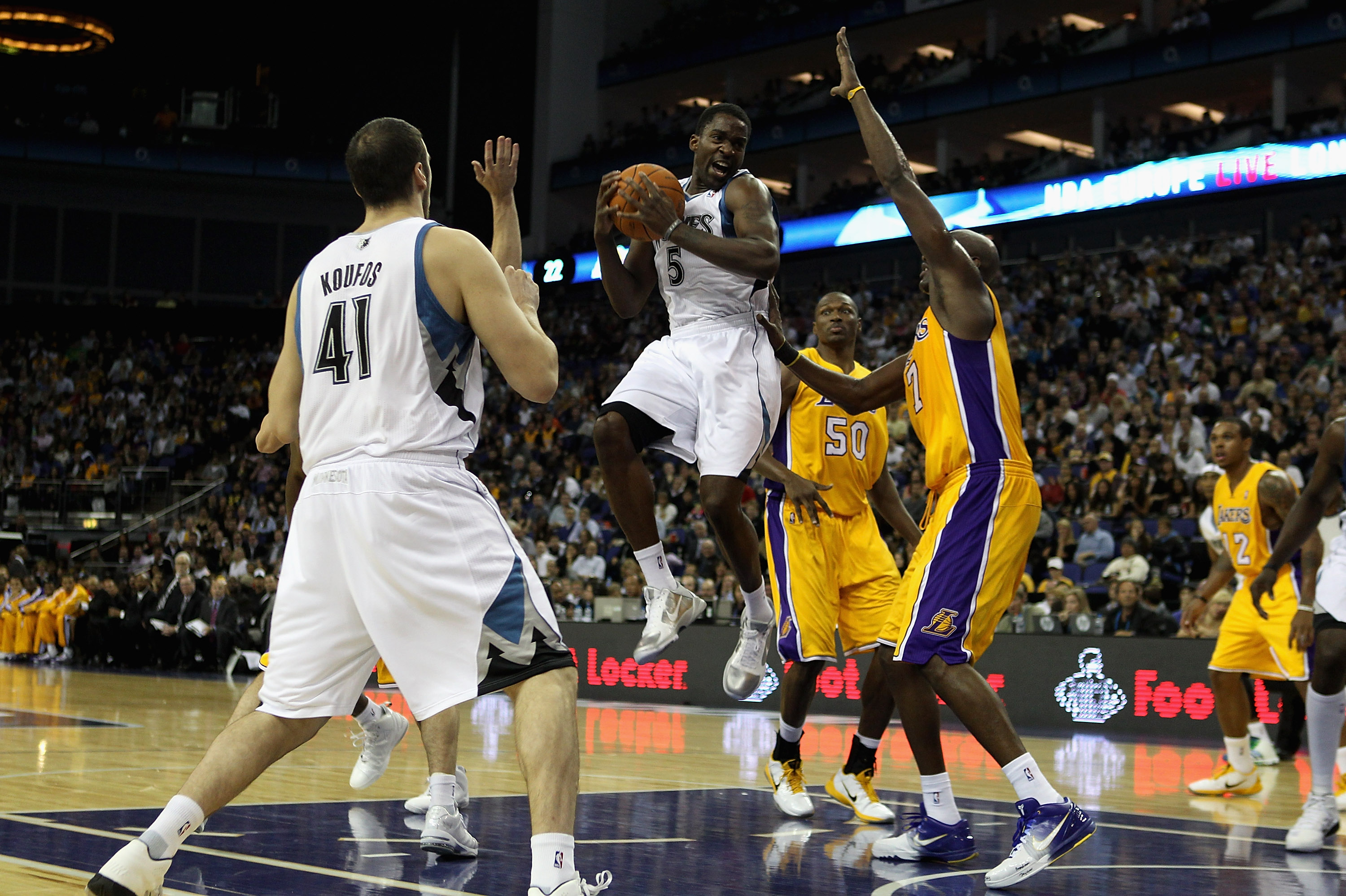 LONDON, ENGLAND - OCTOBER 04:  Martell Webster of the Minnesota Timberwolves (C) in action during the NBA Europe Live match between the Los Angeles Lakers and the Minnesota Timberwolves at the O2 arena on October 4, 2010 in London, England.  (Photo by Bry