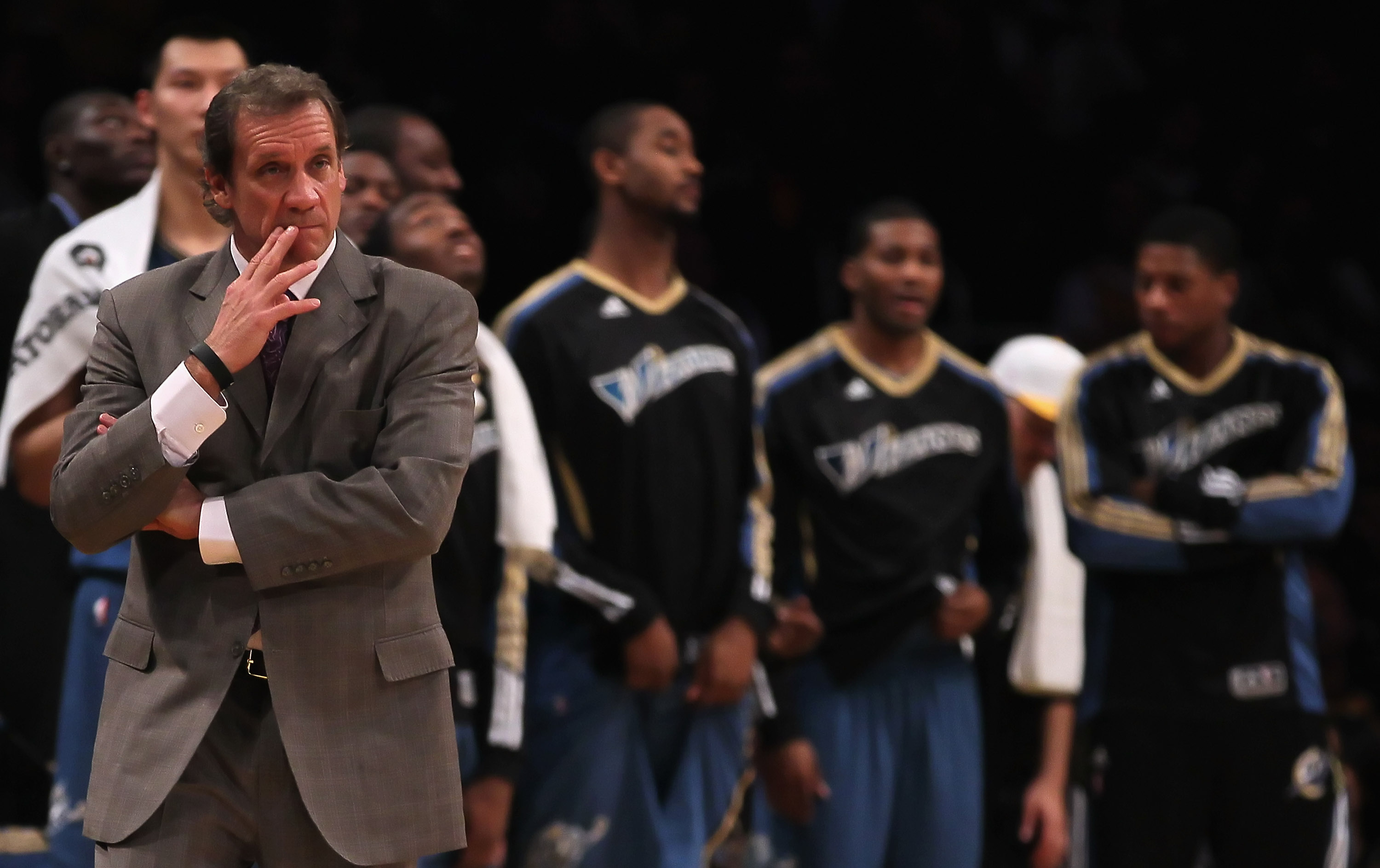 LOS ANGELES, CA - DECEMBER 07:  Washington Wizards head coach Flip Saunders looks on during the game against the Los Angeles Lakers at Staples Center on December 7, 2010 in Los Angeles, California. The Lakers defeated the Wizards 115-108. NOTE TO USER: Us