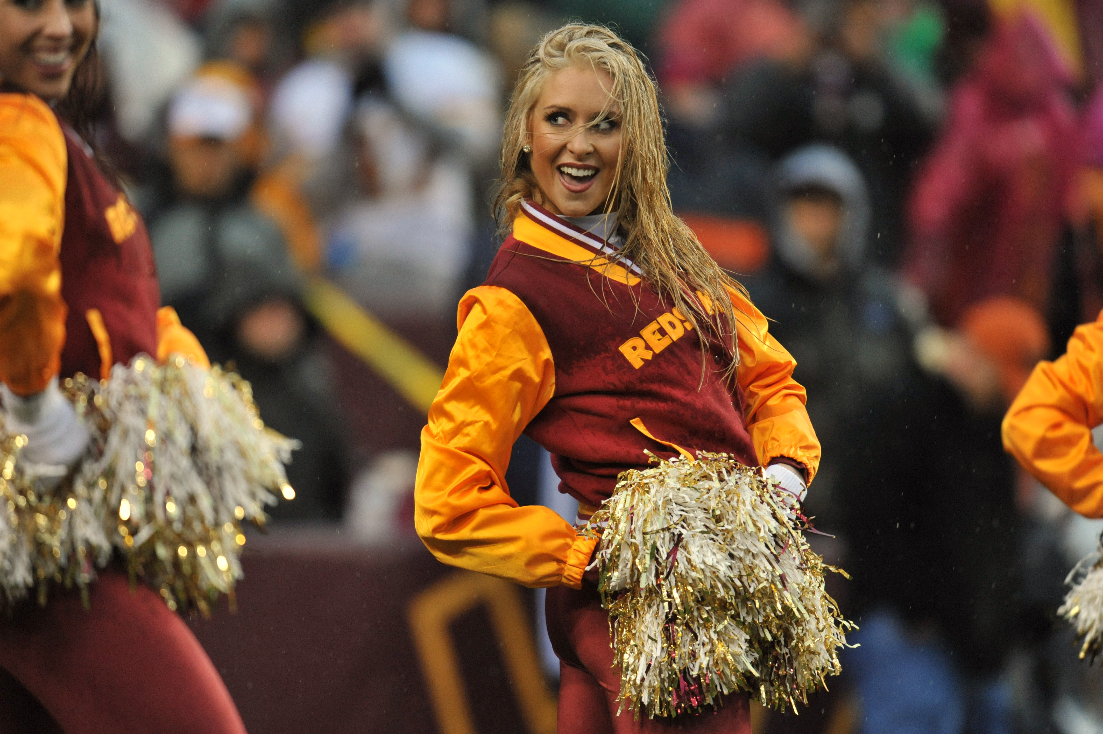LANDOVER, MD - DECEMBER 12:  A cheerleader for the Washington Redskins performs a routine during a time out during the game against the Tampa Bay Buccaneers at FedExField on December 12, 2010 in Landover, Maryland. The Buccaneers defeated the Redskins 17-