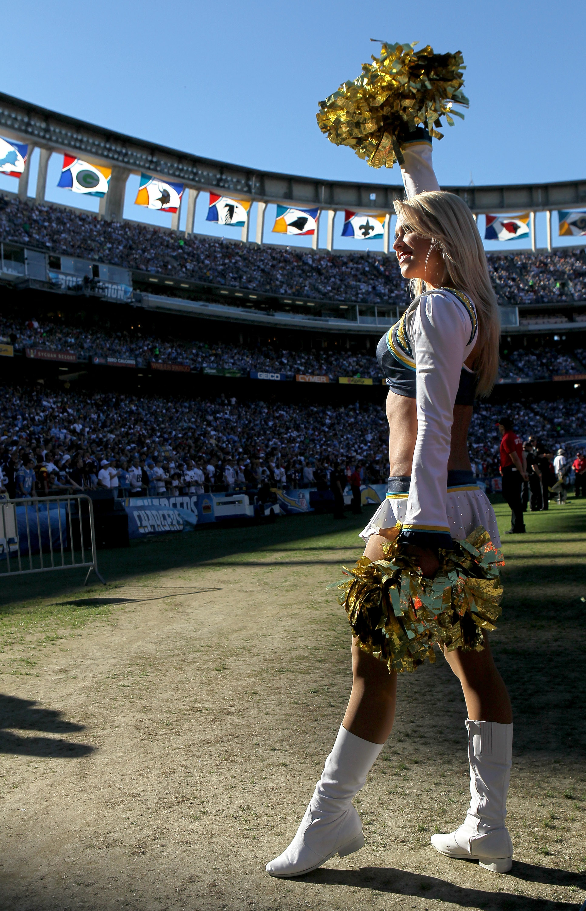 SAN DIEGO - DECEMBER 12:  A Charger Girl performs during the game between the San Diego Chargers and the Kansas City Chiefs at Qualcomm Stadium on December 12, 2010 in San Diego, California.  the Chargers won 31-0.  (Photo by Stephen Dunn/Getty Images)