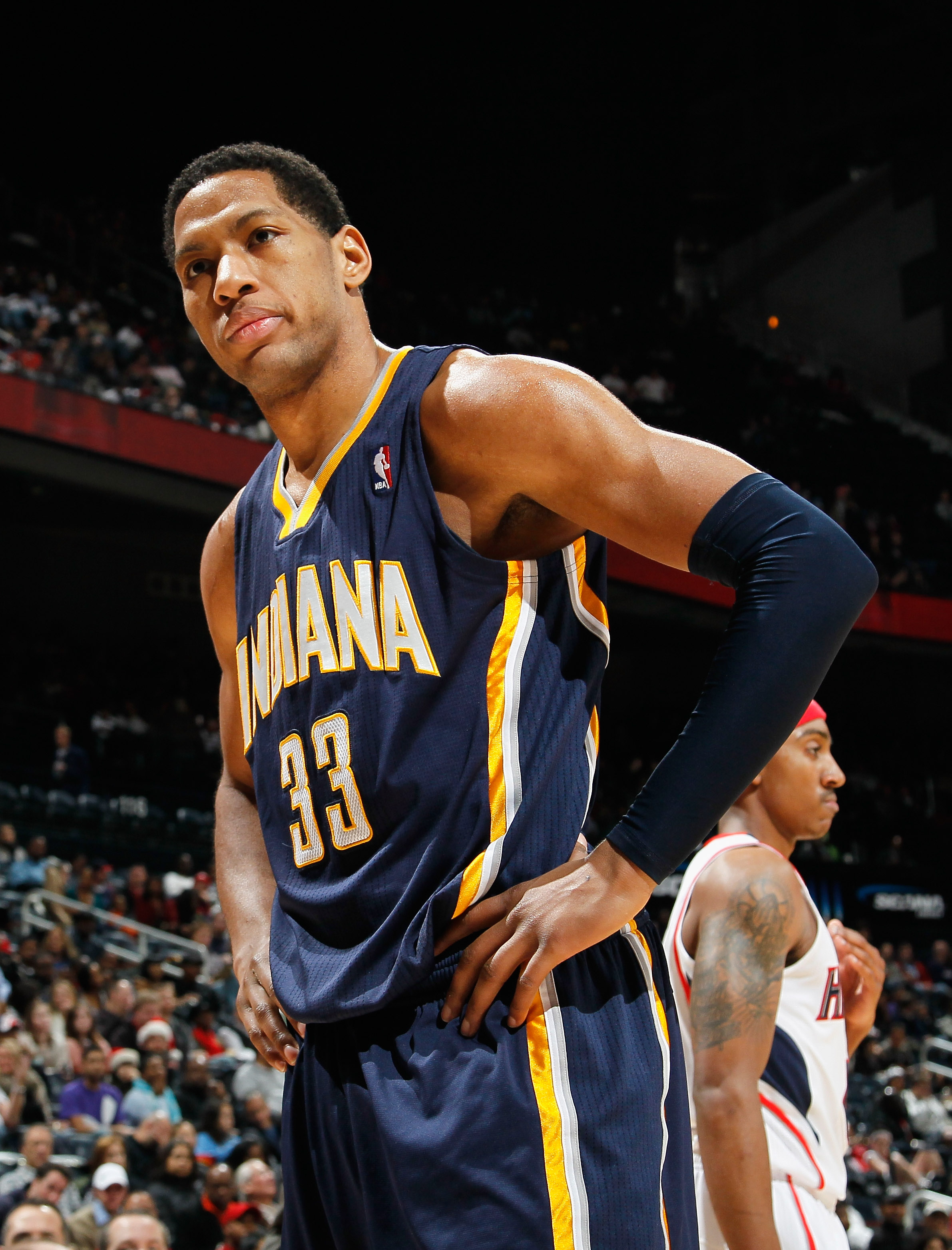 ATLANTA, GA - DECEMBER 11:  Danny Granger #33 of the Indiana Pacers reacts after not drawing a foul from the Atlanta Hawks at Philips Arena on December 11, 2010 in Atlanta, Georgia.  NOTE TO USER: User expressly acknowledges and agrees that, by downloadin