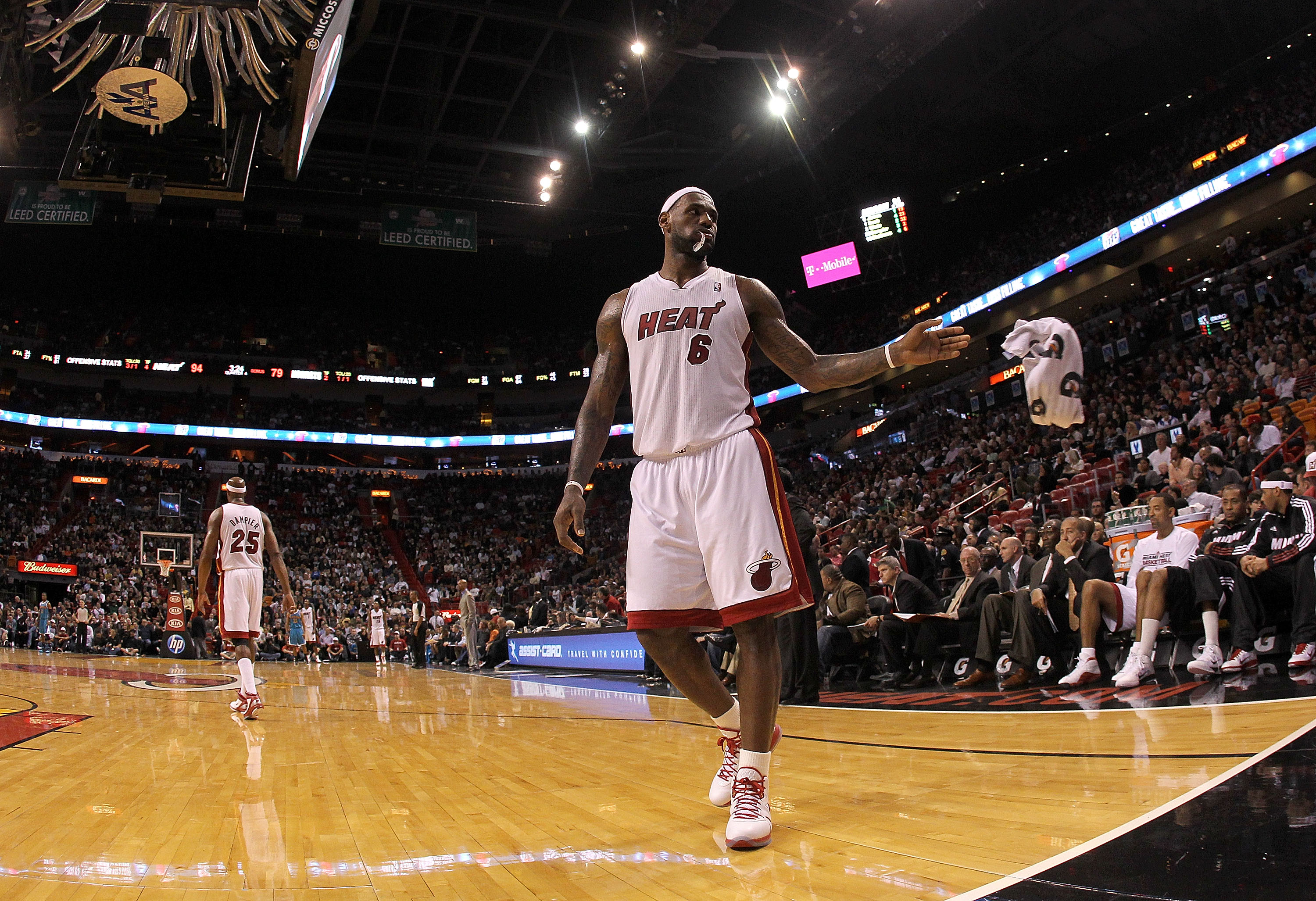 MIAMI, FL - DECEMBER 13:  LeBron James #6 of the Miami Heat waits during a foul shot during a game against the New Orleans Hornets at American Airlines Arena on December 13, 2010 in Miami, Florida. NOTE TO USER: User expressly acknowledges and agrees that