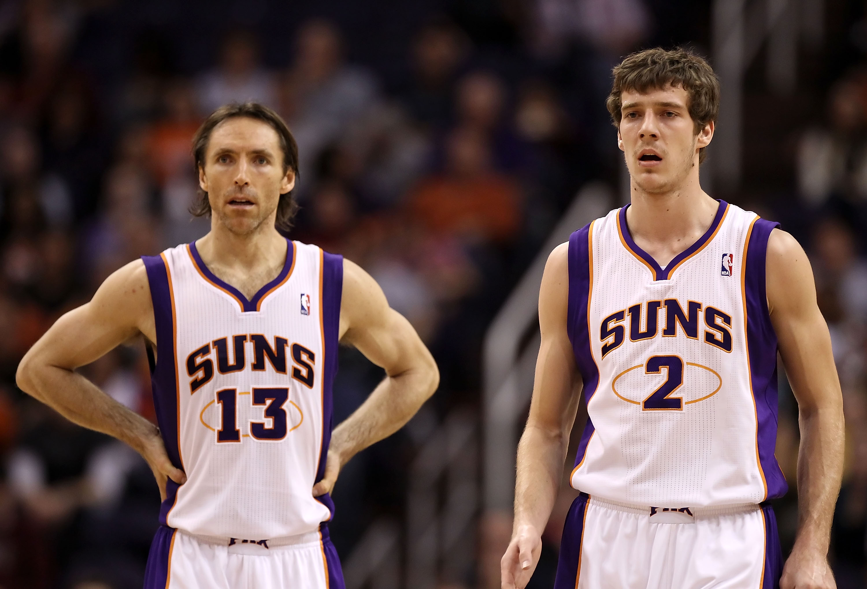 PHOENIX - DECEMBER 10:  Steve Nash #13 and Goran Dragic #2 of the Phoenix Suns during the NBA game against the Portland Trail Blazers at US Airways Center on December 10, 2010 in Phoenix, Arizona.  The Trail Blazers defeated the Suns 101-94. NOTE TO USER: