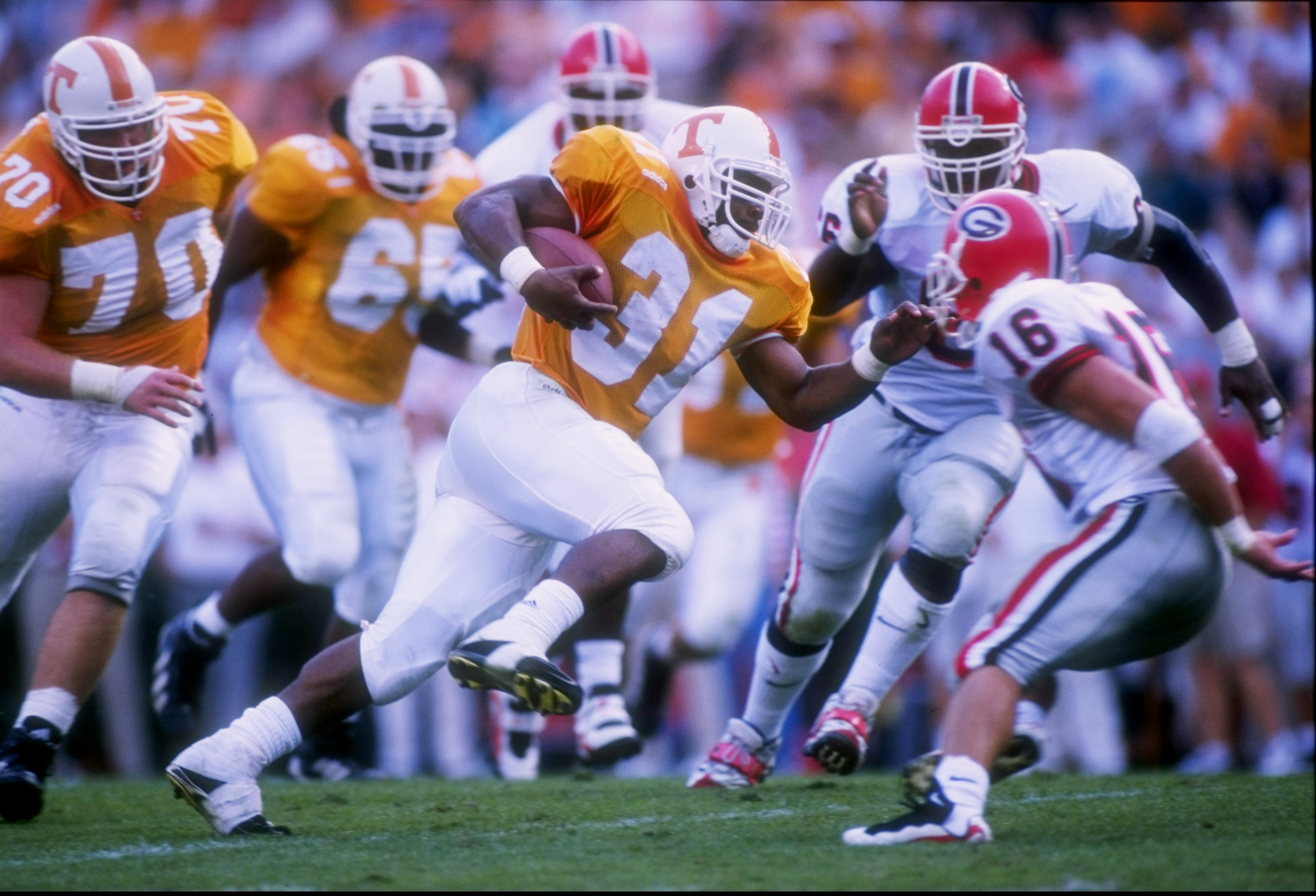 11 Oct 1997 Jamal Lewis Of The Tennessee Volunteers Runs With Ball During A