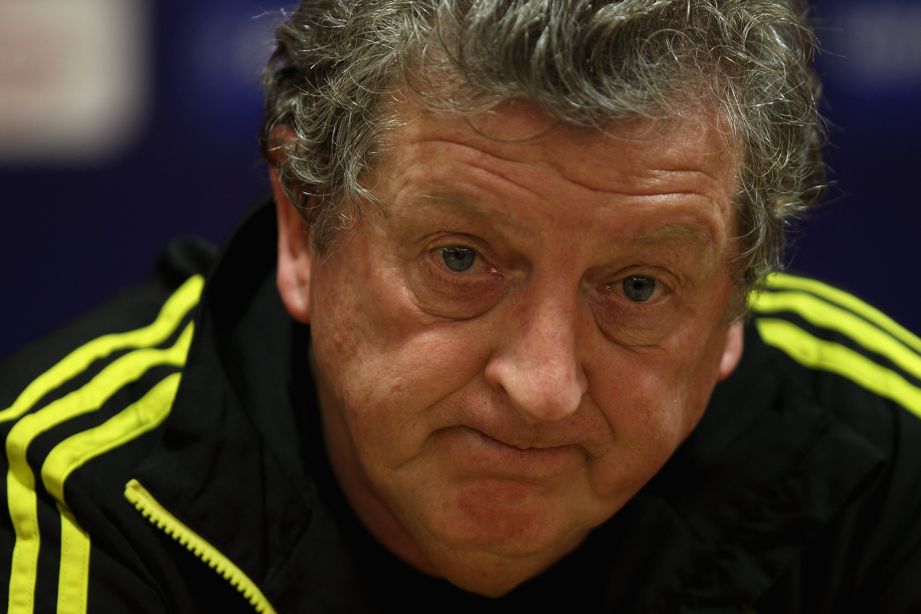 LIVERPOOL, ENGLAND - DECEMBER 14:  Liverpool manager Roy Hodgson thinks before answering a question during the press conference ahead of their UEFA Europa League Group K match against Utrecht at Anfield on December 14, 2010 in Liverpool, England.  (Photo
