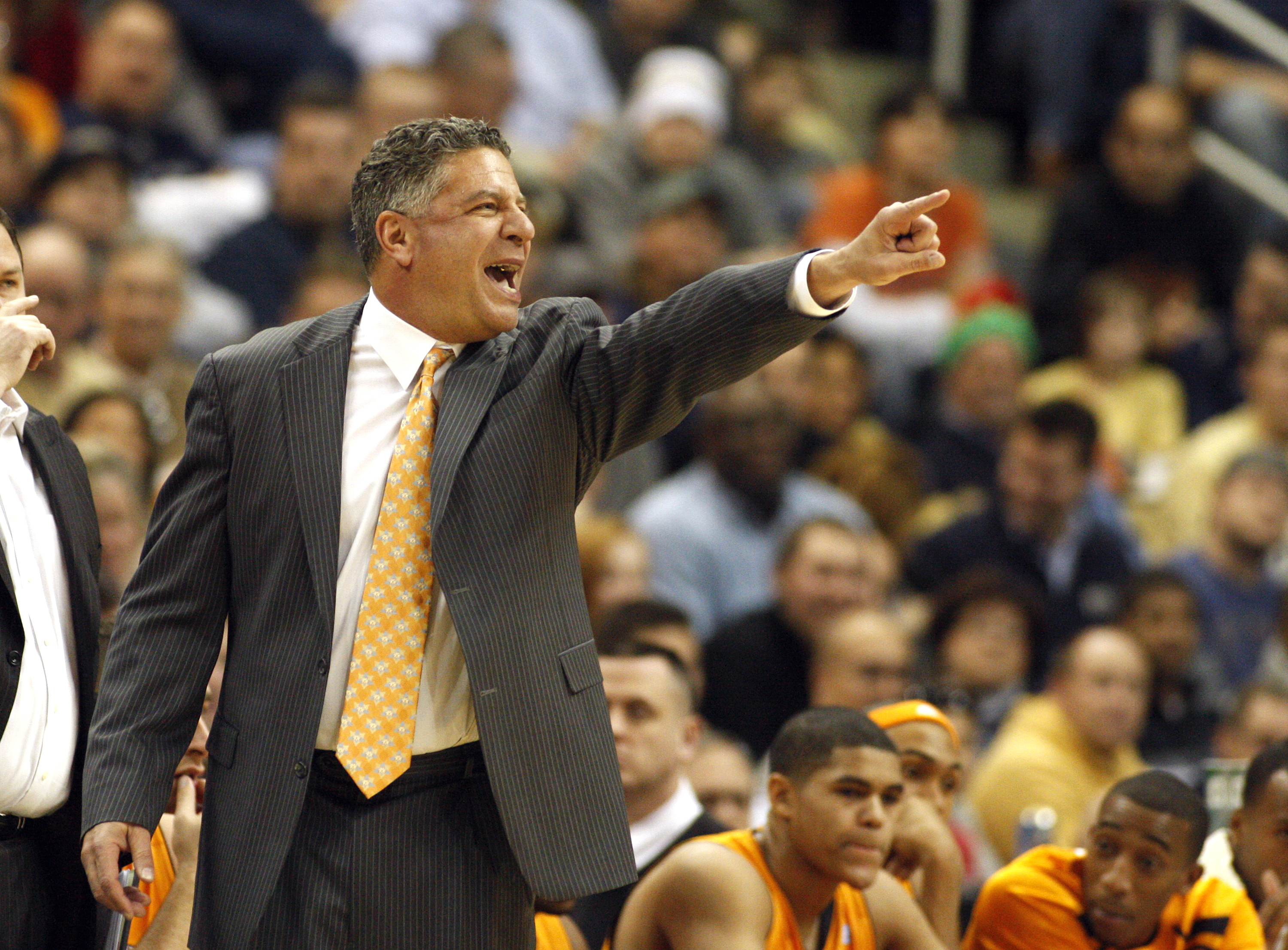 PITTSBURGH, PA - DECEMBER 11:  Tennessee Volunteers head coach Bruce Pearl directs his team against the Pittsburgh Panthers during the SEC/BIG EAST Invitational at Consol Energy Center on December 11, 2010 in Pittsburgh, Pennsylvania.The Volunteers defeat