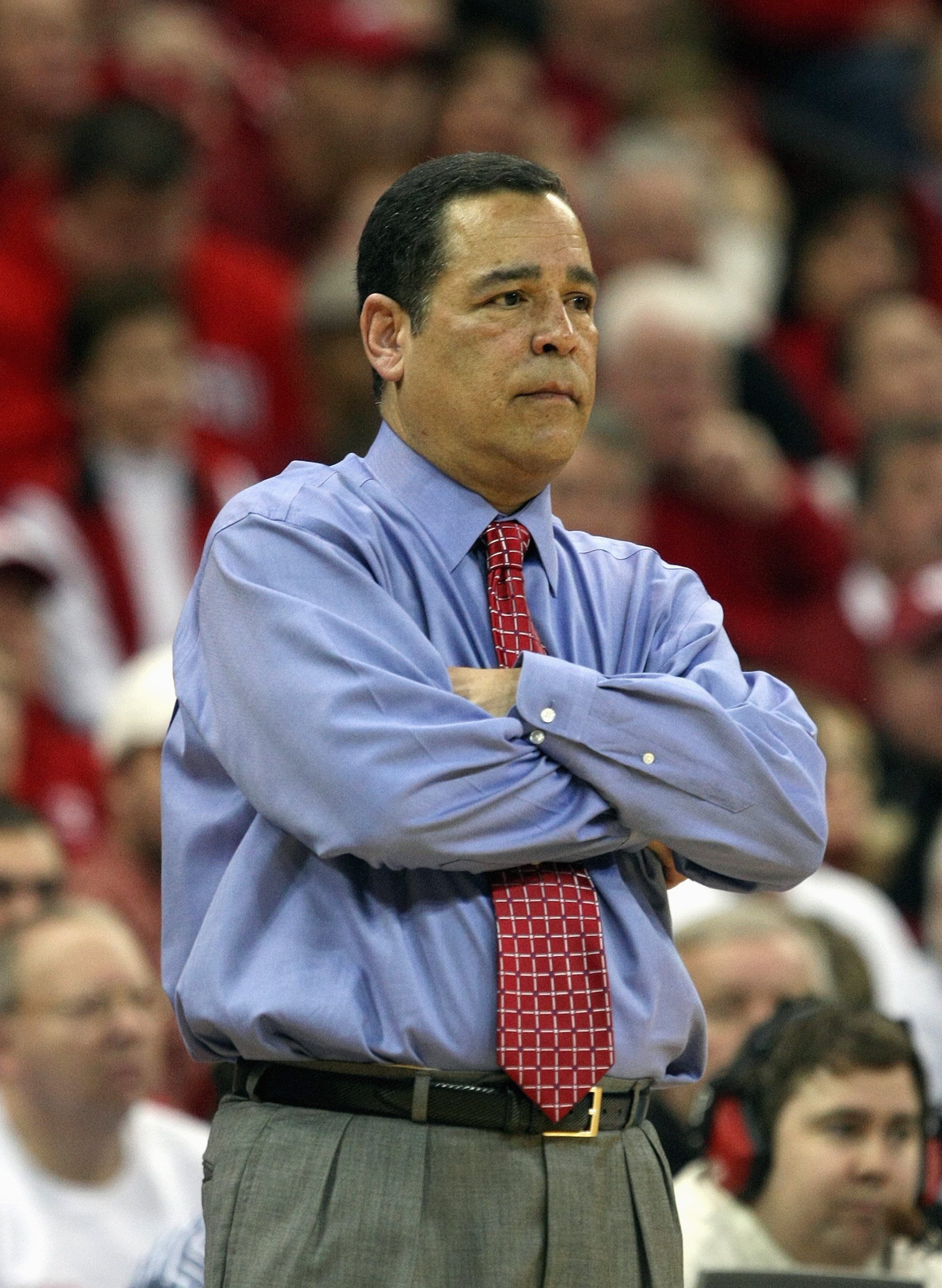 MADISON, WI - JANUARY 31: Head coach Kelvin Sampson of the Indana Hoosiers watches the action against the Wisconsin Badgers on January 31, 2008 at the Kohl Center in Madison, Wisconsin. Wisconsin defeated Indiana 62-49. (Photo by Jonathan Daniel/Getty Ima