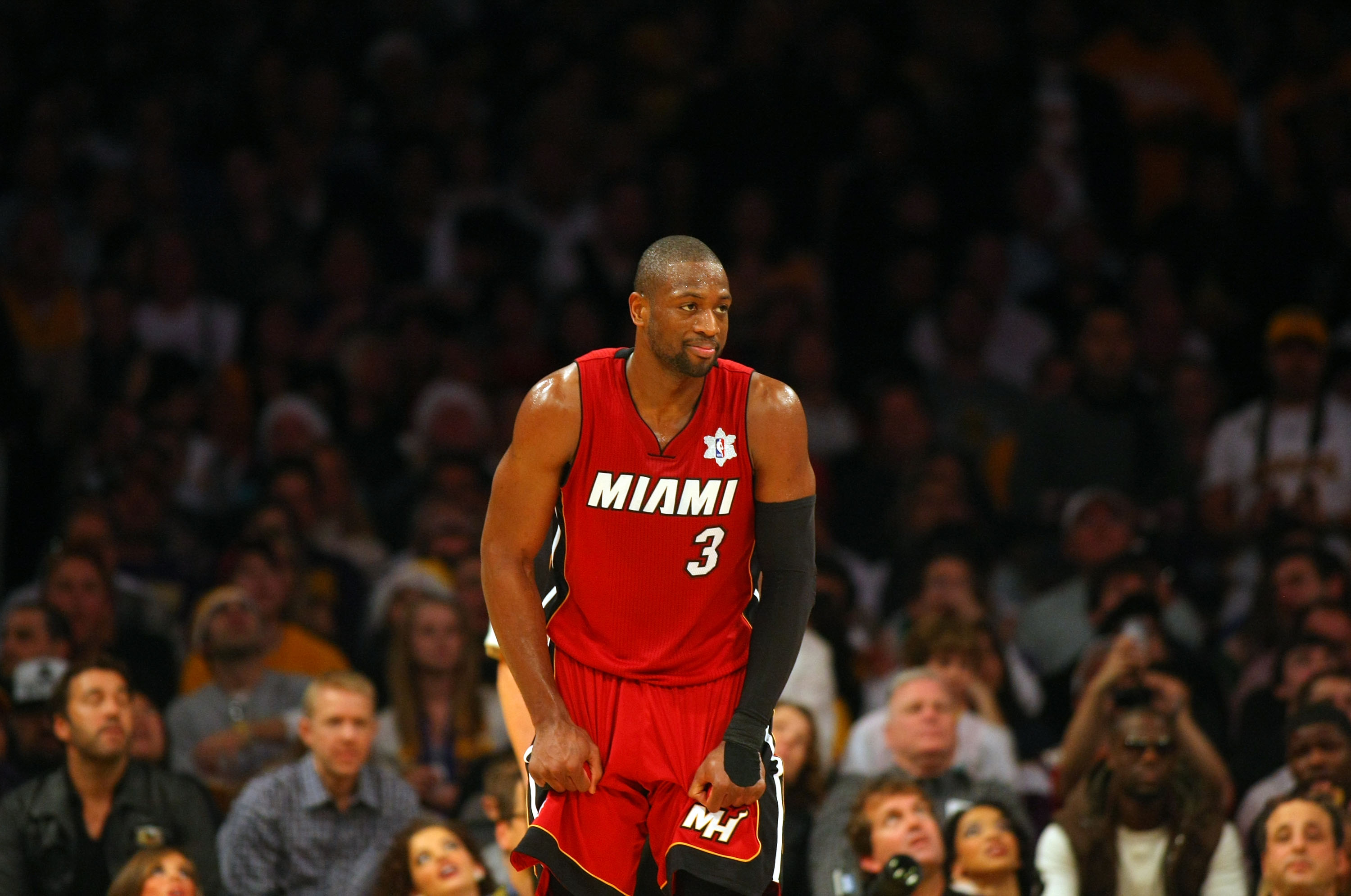 LOS ANGELES, CA - DECEMBER 25:  Dwyane Wade #3 of the Miami Heat reacts after being called for a foul during the NBA game against the Los Angeles Lakers at Staples Center on December 25, 2010 in Los Angeles, California. The Heat defeated the Lakers 96-80.