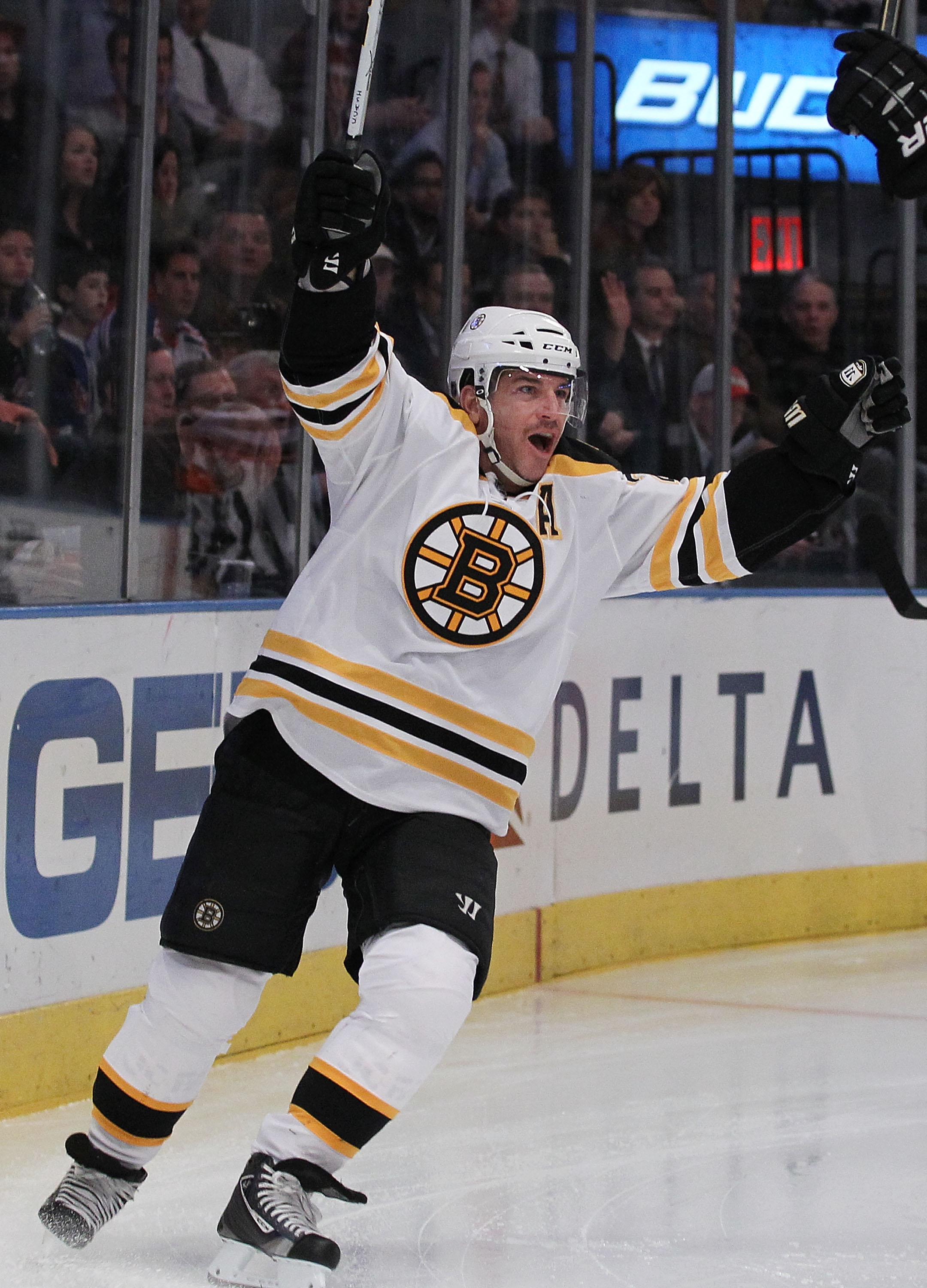 NEW YORK - NOVEMBER 17:  Mark Recchi #28 of the Boston Bruins celebrates a goal against the New York Rangers during their game on November 17, 2010 at Madison Square Garden in New York City.  (Photo by Al Bello/Getty Images)