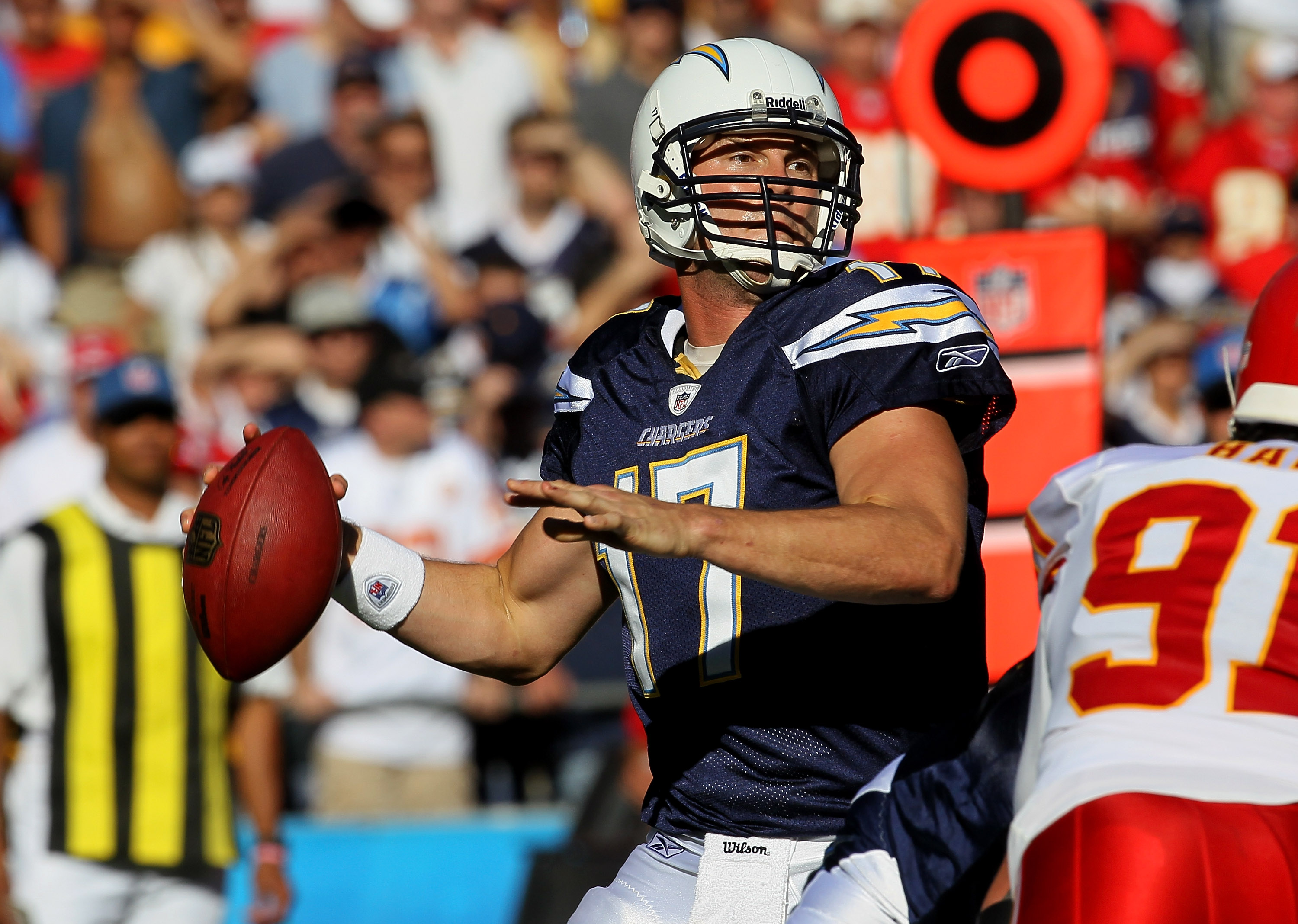 SAN DIEGO - DECEMBER 12:  Quarterback Philip Rivers #17 of the San Diego Chargers throws a pass against the Kansas City Chiefs at Qualcomm Stadium on December 12, 2010 in San Diego, California.  The Chargers won 31-0.  (Photo by Stephen Dunn/Getty Images)