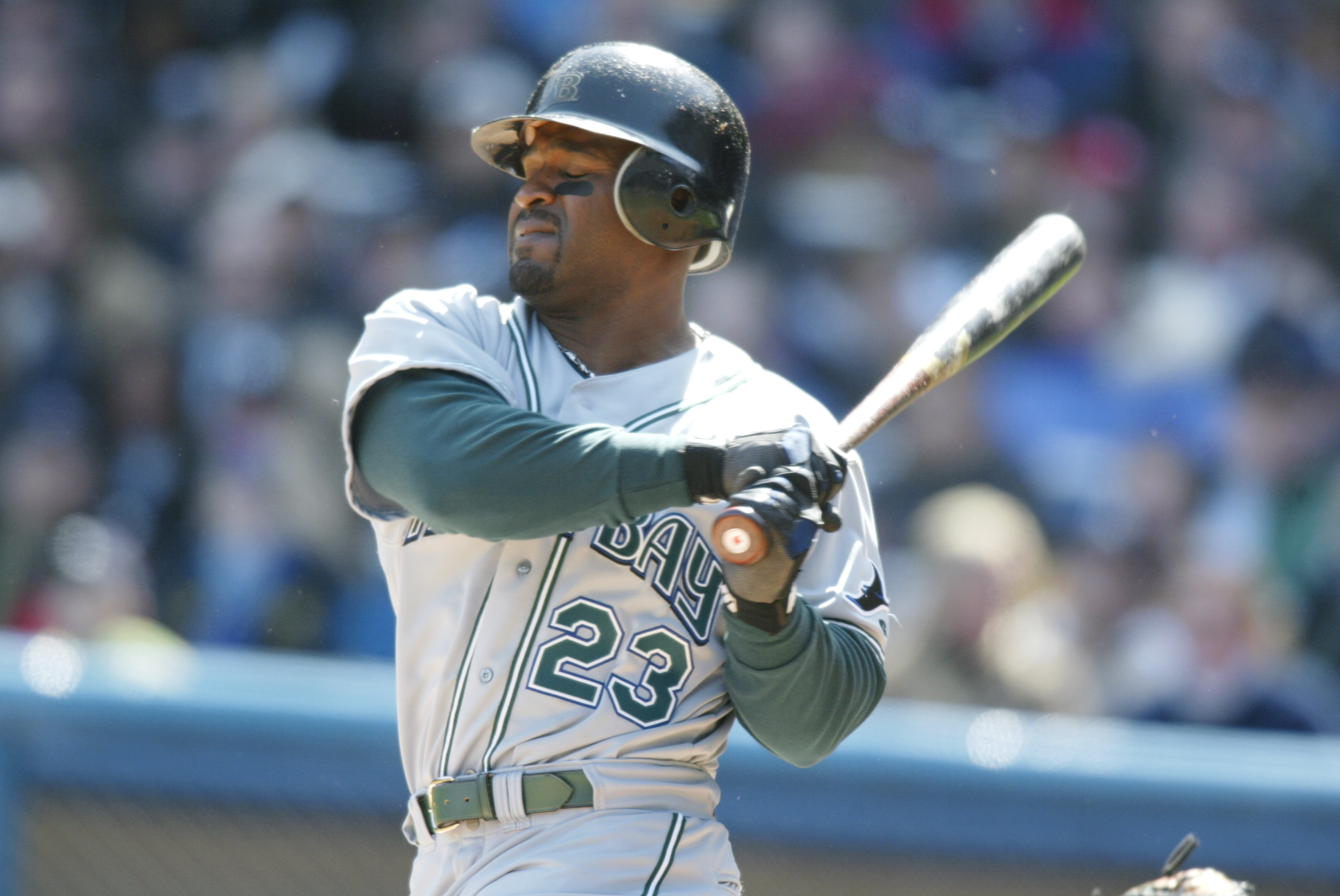 07 Apr 2002 :  Greg Vaughn #23 of the Tampa Bay Devil Rays hits against the New York Yankees during the game at Yankee Stadium  in the Bronx, New York. The Yankees won 7-2. DIGITAL IMAGE.  Mandatory Credit: Al Bello/Getty Images