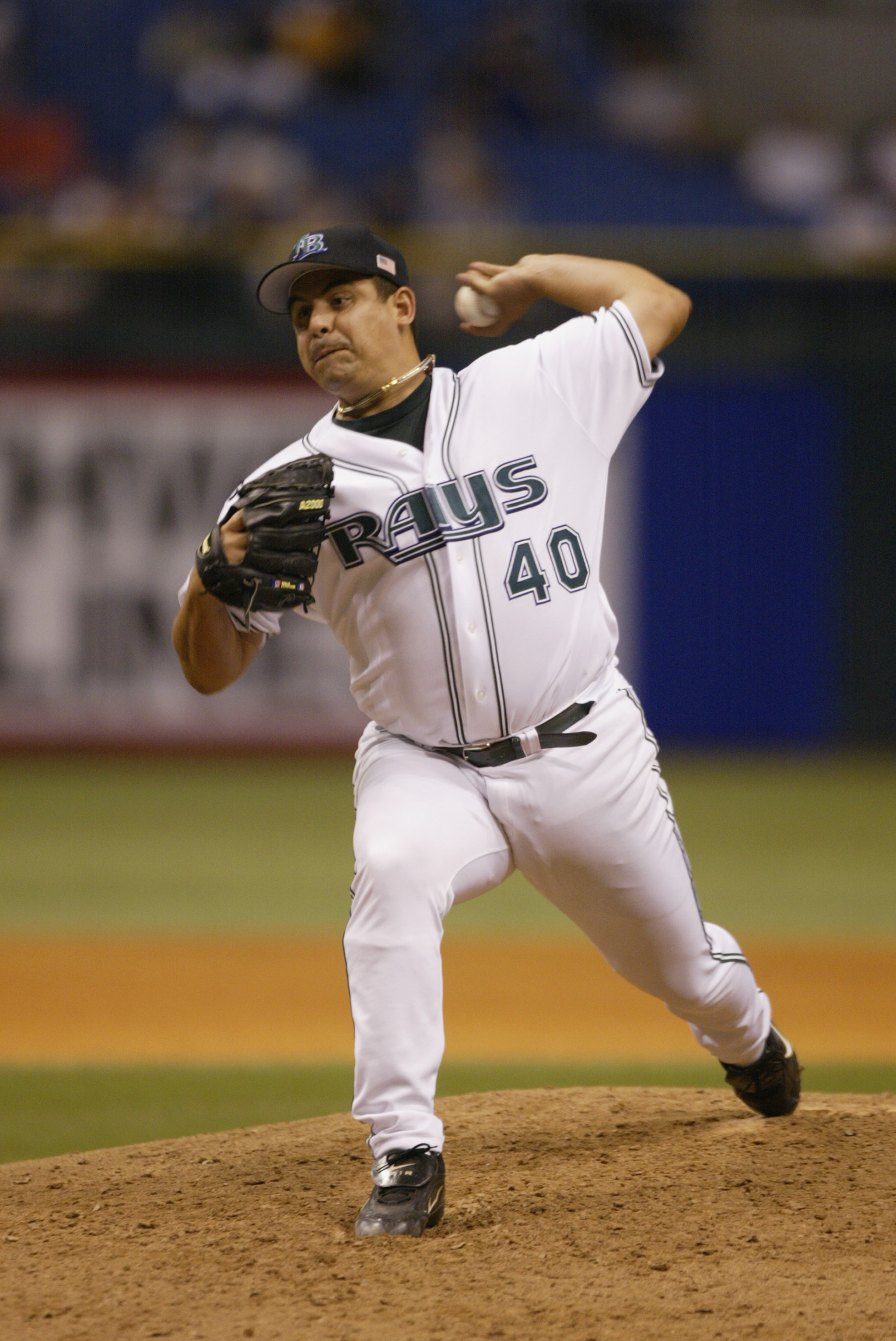 ST.PETERSBURG, FL - SEPTEMBER 11:  Pitcher Wilson Alvarez #40 of the Tampa Bay Devil Rays throws a pitch against the Boston Red Sox during the game on September 11, 2002 at Tropicana Field in St. Petersburg, Florida.  The Red Sox won 6-3. (Photo by Andy L