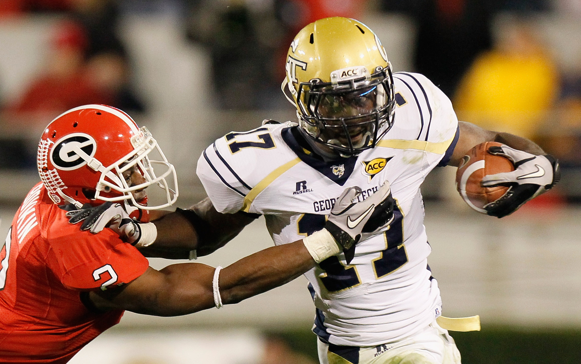 ATHENS, GA - NOVEMBER 27:  Brandon Boykin #2 of the Georgia Bulldogs tackles Orwin Smith #17 of the Georgia Tech Yellow Jackets at Sanford Stadium on November 27, 2010 in Athens, Georgia.  (Photo by Kevin C. Cox/Getty Images)