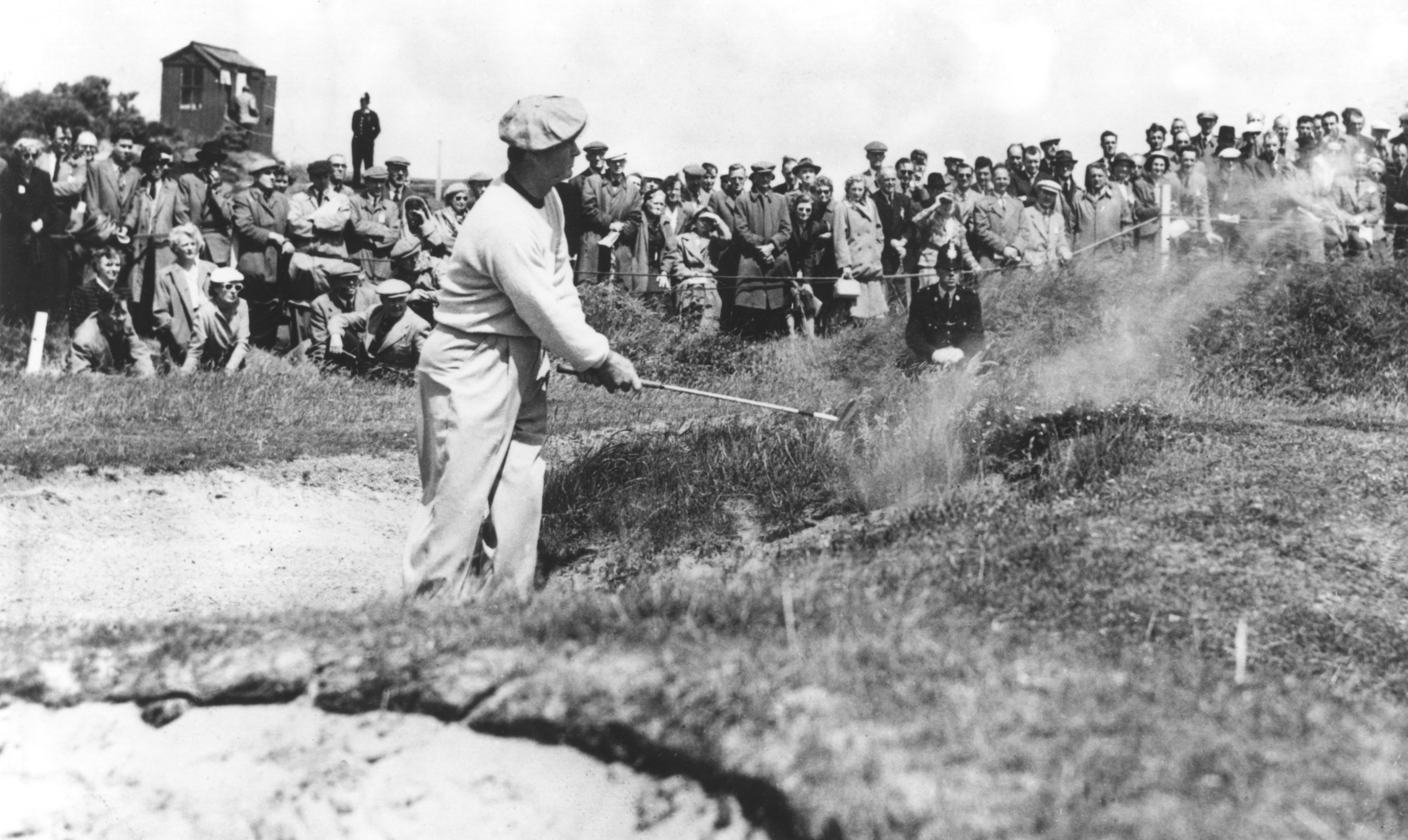 9 JUL 1954:  JIMMY DEMARET OF THE UNITED STATES PLAYS OUT FROM A BUNKER ONTO THE 10TH GREEN ON THE BIRKDALE LINKS DURING THE OPEN GOLF CHAMPIONSHIPS AT SOUTHEND. Mandatory Credit: Allsport Hulton/Archive