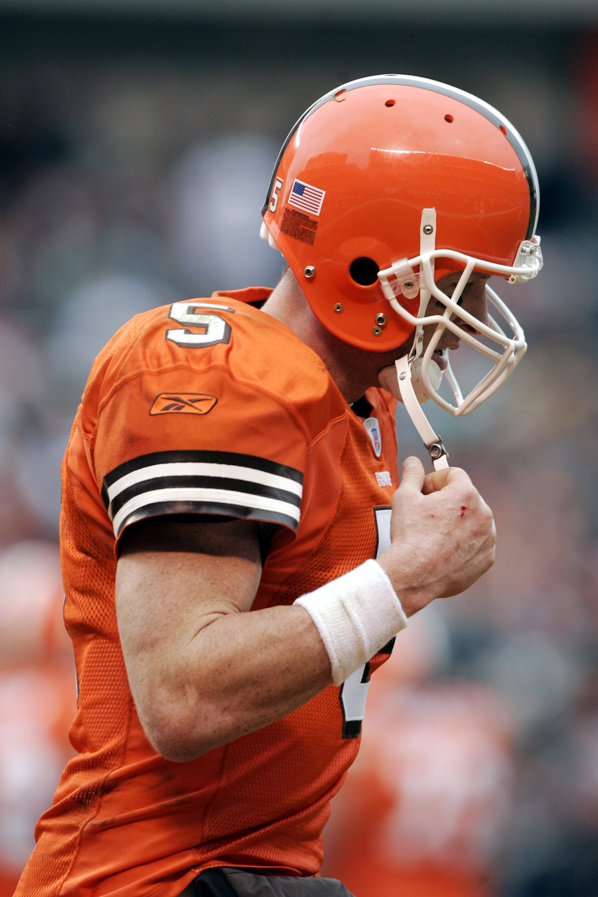 CLEVELAND - NOVEMBER 21:  Quarterback Jeff Garcia #5 of the Cleveland Browns comes off the field against the New York Jets in the first half on November 21, 2004 at Cleveland Browns Stadium in Cleveland, Ohio.  The Jets won 10-7.   (Photo by Brian Bahr/Ge