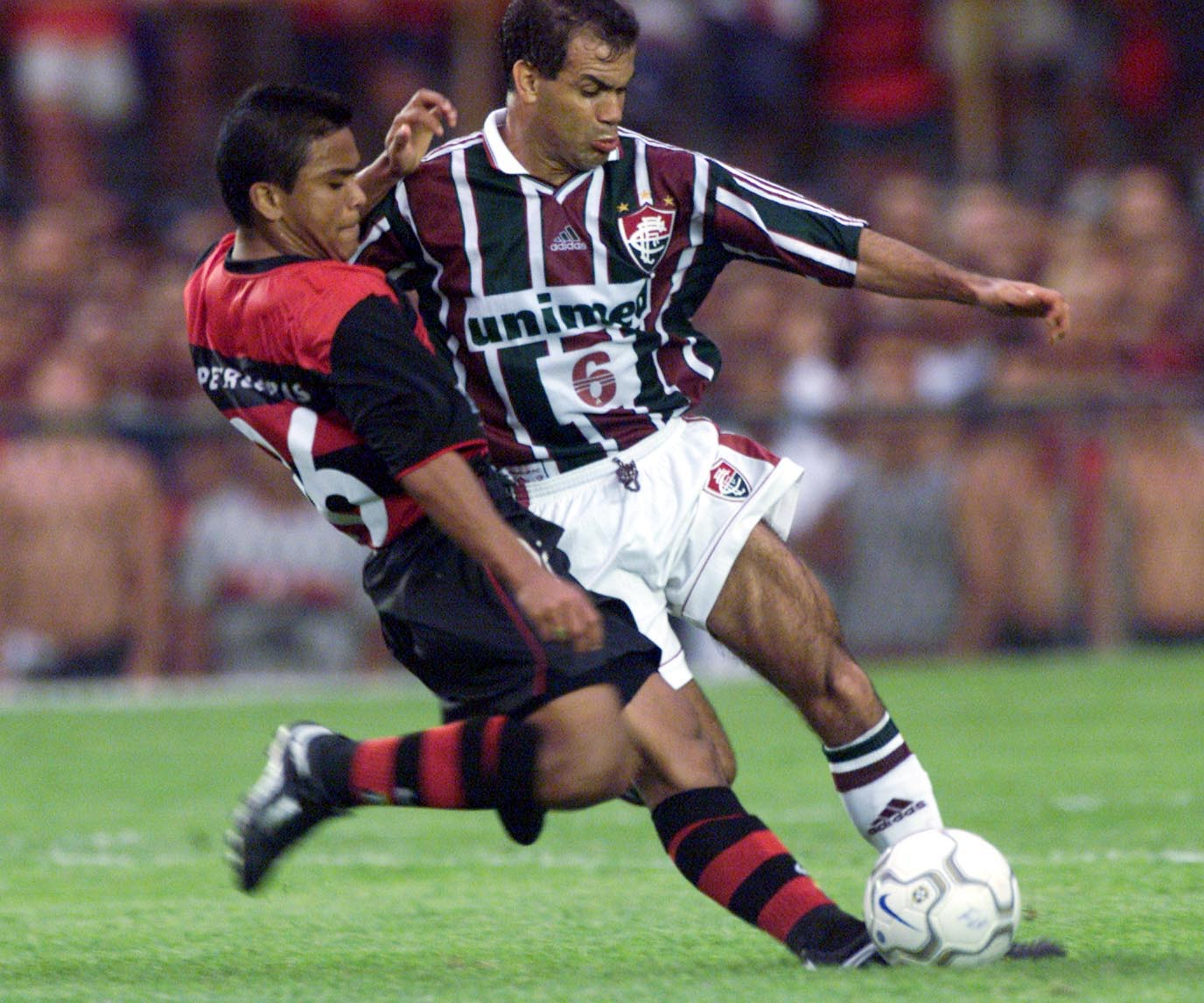 5 Nov 2000:  Roma (left) of Flamengo and Jorginho of Fluminense in action during the Havelange Cup (Brazil National Championship) match  between Flamengo and Fluminense played at the Maracan Stadium, Rio de Janeiro, Brazil. Mandatory Credit: Allsport UK/A