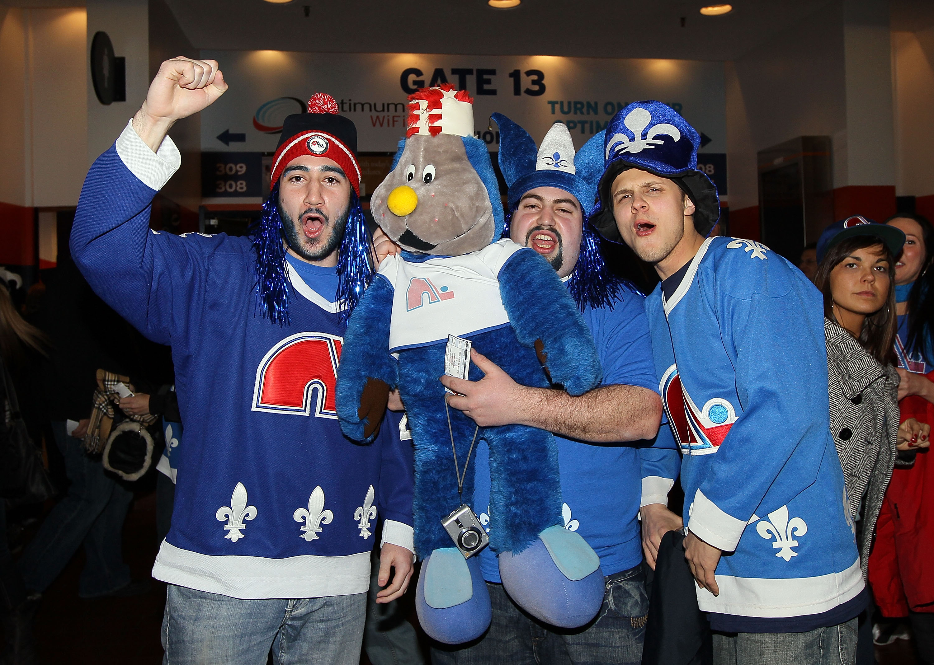UNIONDALE, NY - DECEMBER 11:  Members of 'Nordiques Nation' get fired up prior to the NHL game between the New York Islanders and the Atlanta Thrashers on December 11, 2010 at Nassau Coliseum in Uniondale, New York.  1,100 fans from Quebec attended the ga
