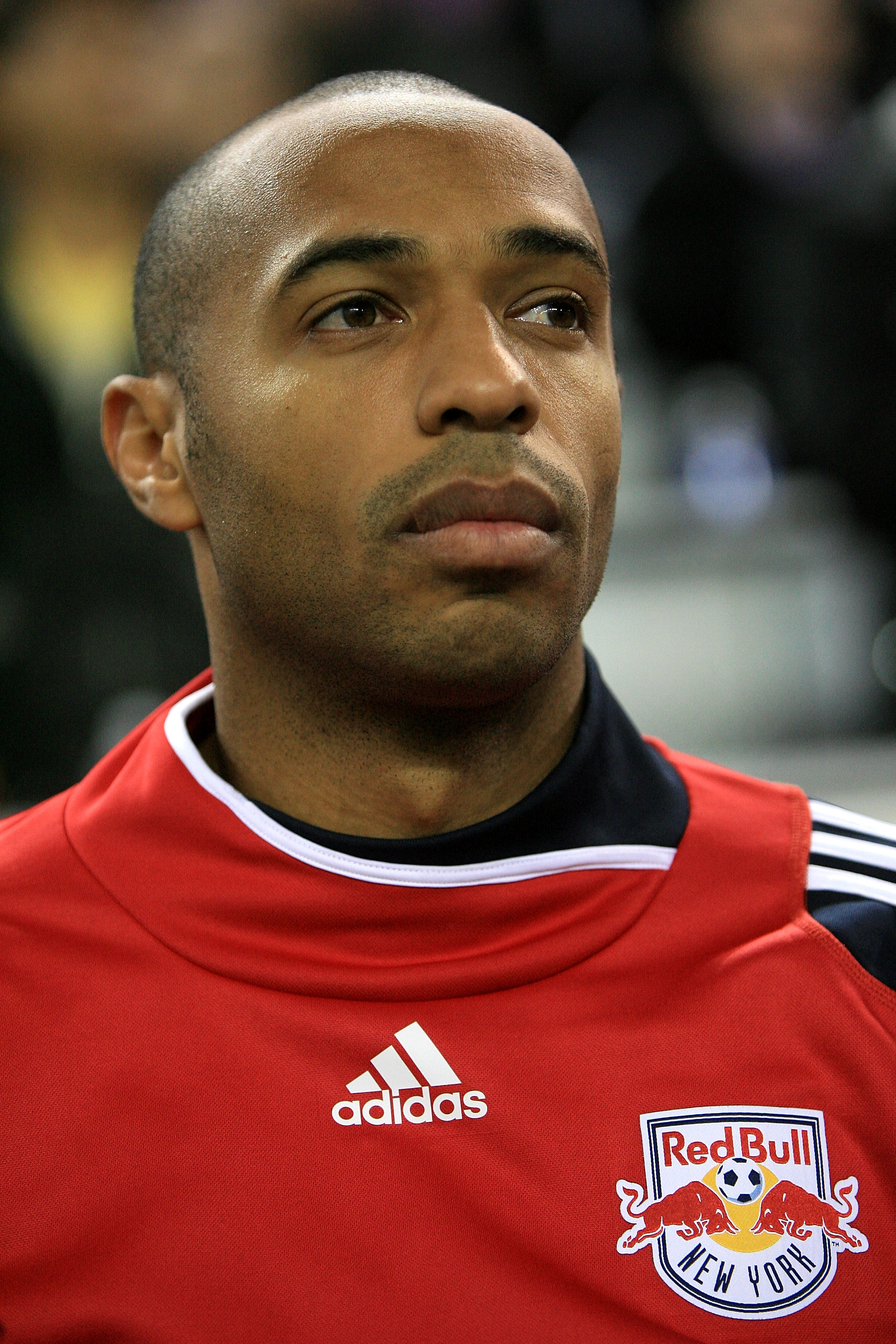 HARRISON, NJ - NOVEMBER 04: Thierry Henry #14 of the New York Red Bulls stands for the national anthem prior to the match against the San Jose Earthquakes during the second leg of the of the MLS playoffs at Red Bull Arena on November 4, 2010 in Harrison,