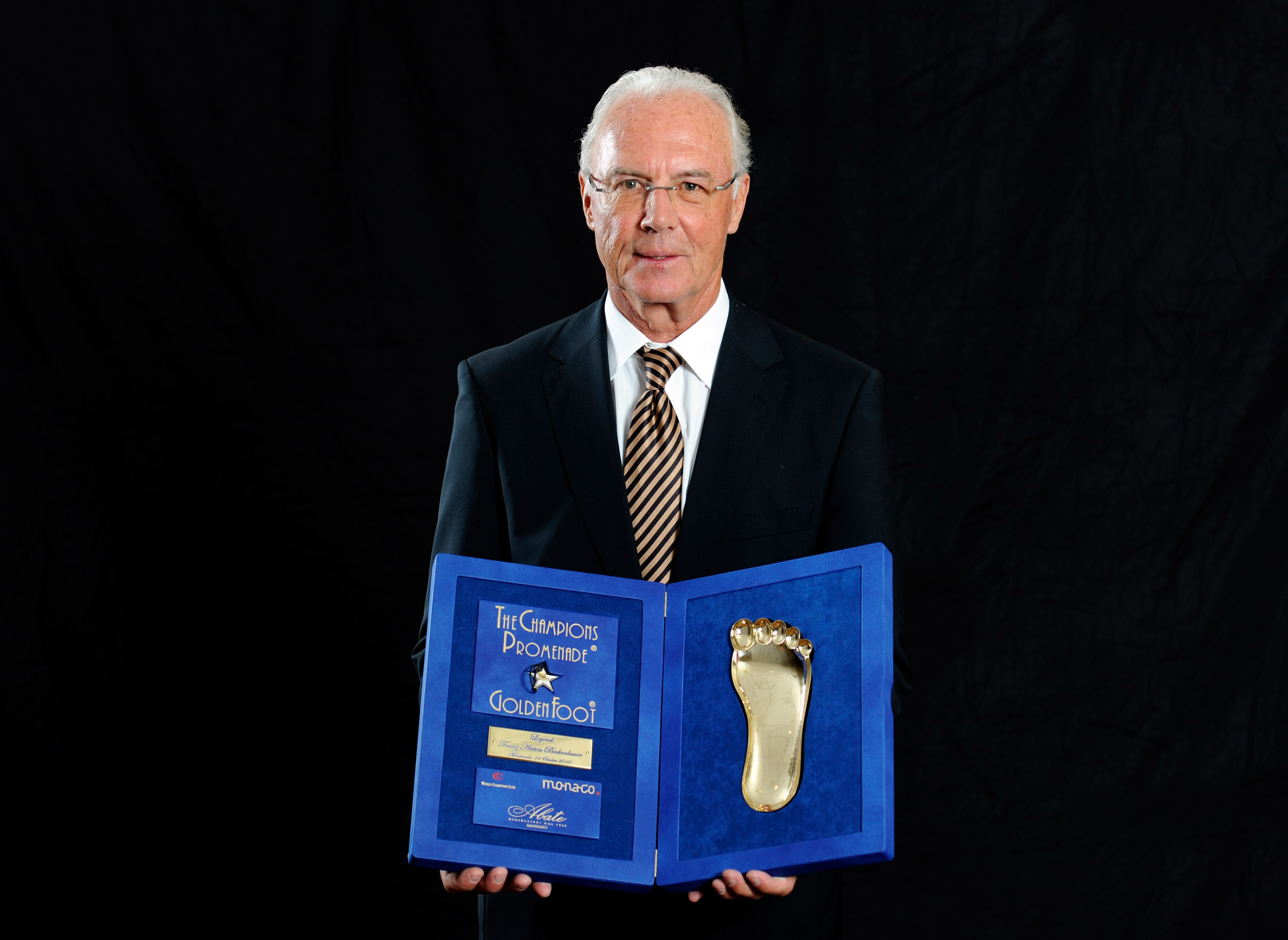 MONACO - OCTOBER 11:  Franz Beckenbauer during the Golden Foot Awards ceremony at Fairmont Hotel on October 11, 2010 in Monaco, Monaco.  (Photo by Claudio Villa/Getty Images for Golden Foot)