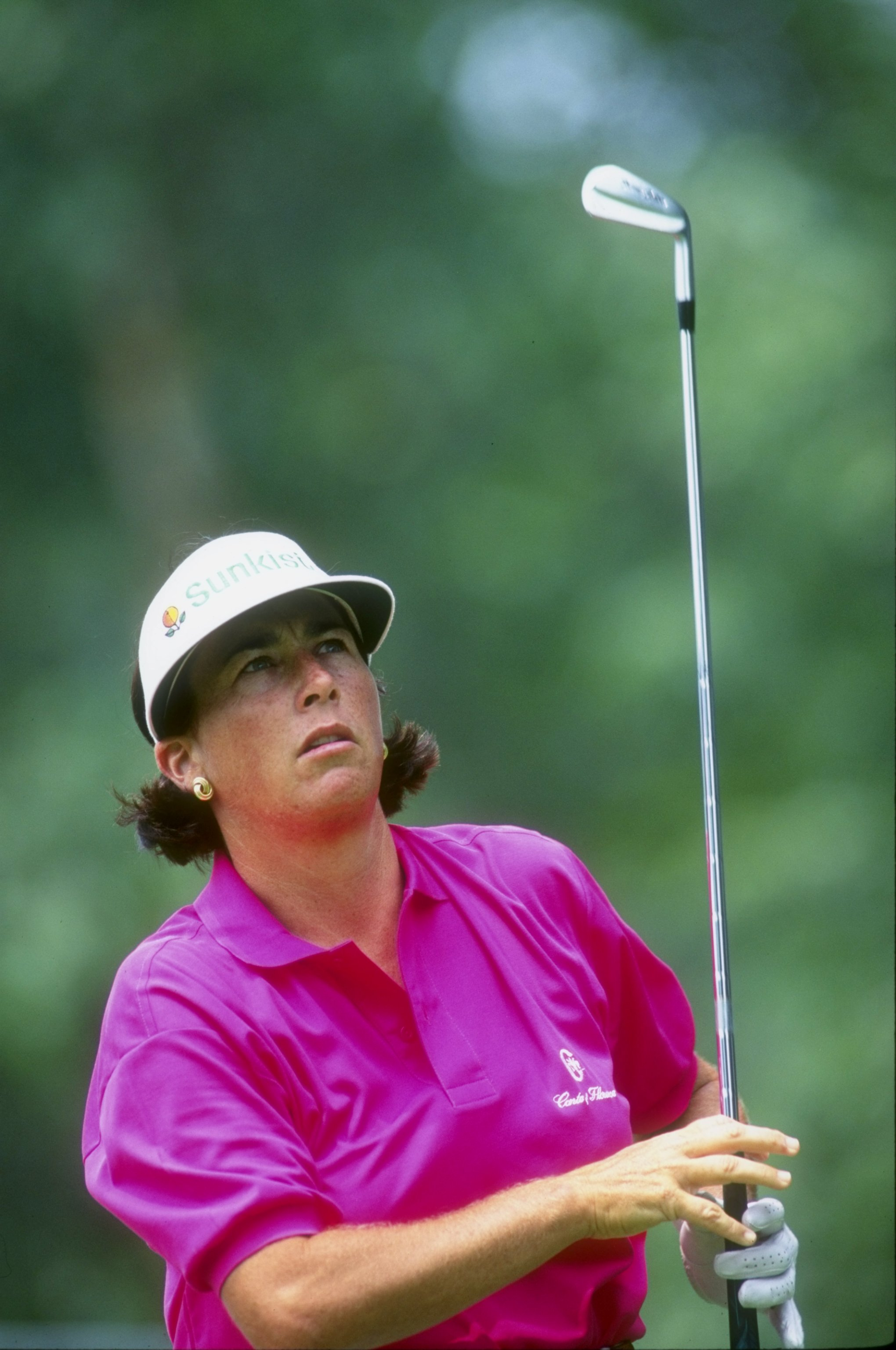 Jul 1993:  Amy Alcott watches the ball after her swing during the U.S Women''s Open at Crooked Stick in Carmel,  Indiana. Mandatory Credit: Gary Newkirk  /Allsport
