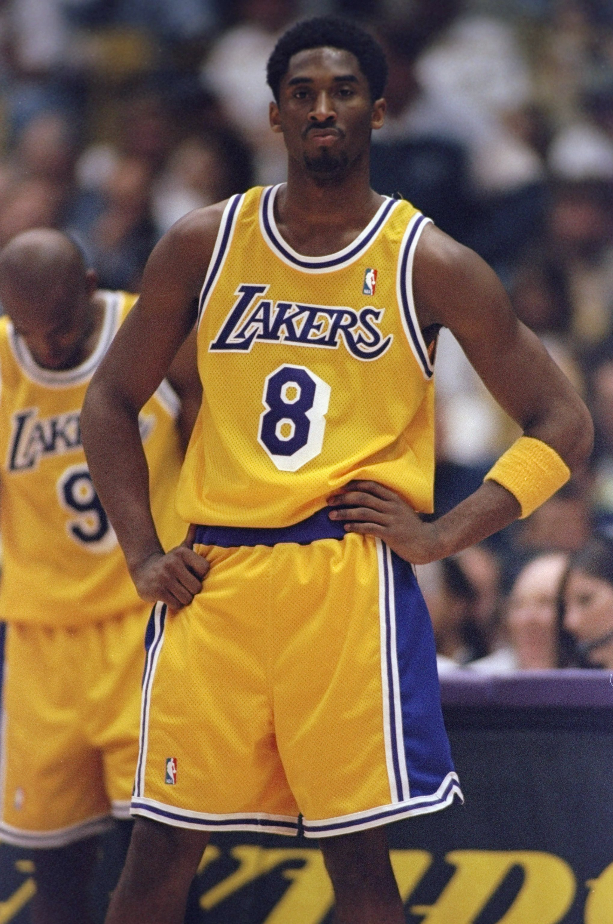 24 May, 1998:  Kobe Bryant #8 of the Los Angeles Lakers stands on court during the NBA Western Conference Finals against the Utah Jazz at the Great Western Forum in Inglewood, California.  The Jazz defeated the Lakers 96-92. Mandatory Credit: Jed Jacobsoh