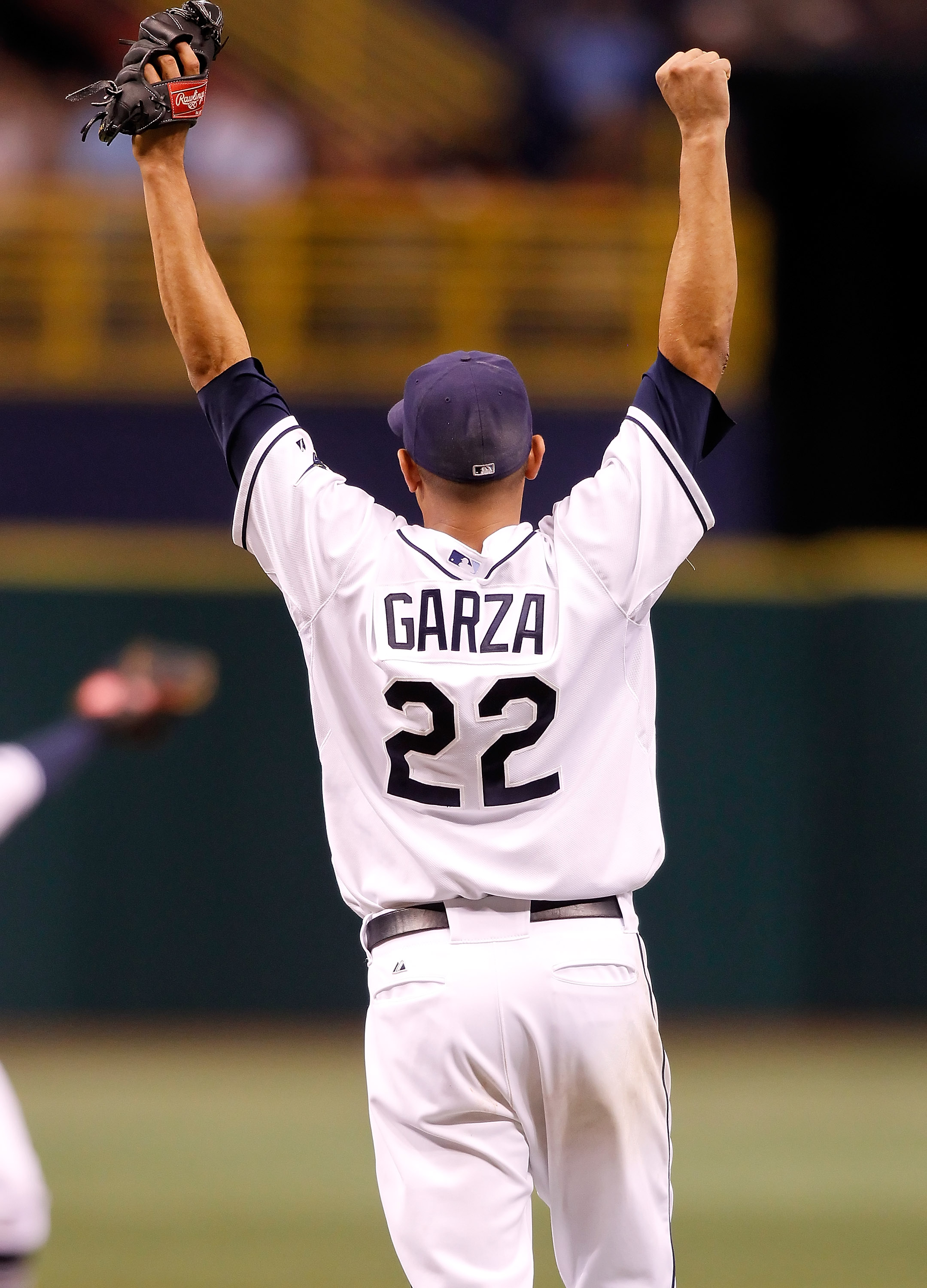 ST PETERSBURG, FL - JULY 26:  Pitcher Matt Garza #22 of the Tampa Bay Rays celebrates his no hitter against the Detroit Tigers during the game at Tropicana Field on July 26, 2010 in St. Petersburg, Florida. Tampa Bay beat Detroit 5-0.  (Photo by J. Meric/