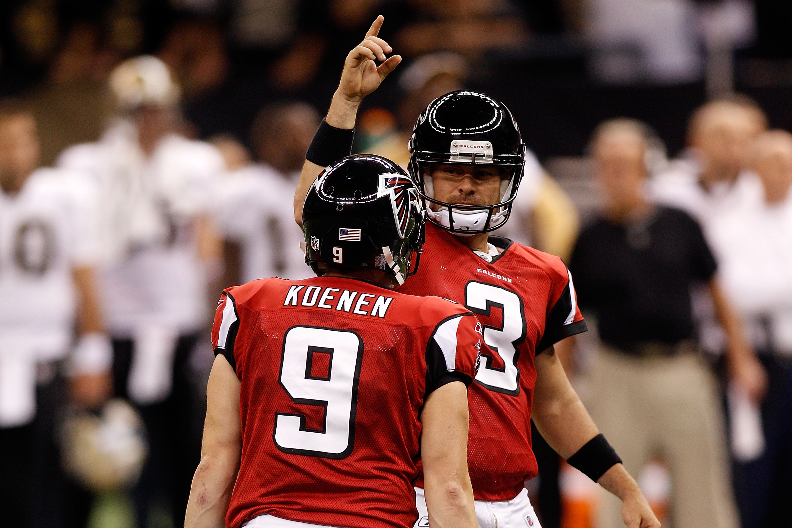 NEW ORLEANS - SEPTEMBER 26:  Matt Bryant #3 of the Atlanta Falcons celebrates after kicking a field goal to win the game in overtime 27-24 against the New Orleans Saints at the Louisiana Superdome on September 26, 2010 in New Orleans, Louisiana.  (Photo b