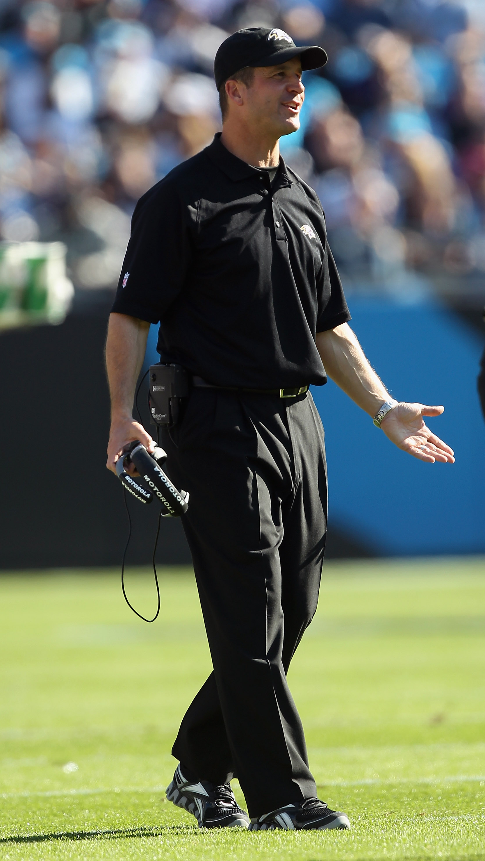 CHARLOTTE, NC - NOVEMBER 21:  Head coach John Harbaugh of the Baltimore Ravens against the Carolina Panthers at Bank of America Stadium on November 21, 2010 in Charlotte, North Carolina.  (Photo by Streeter Lecka/Getty Images)