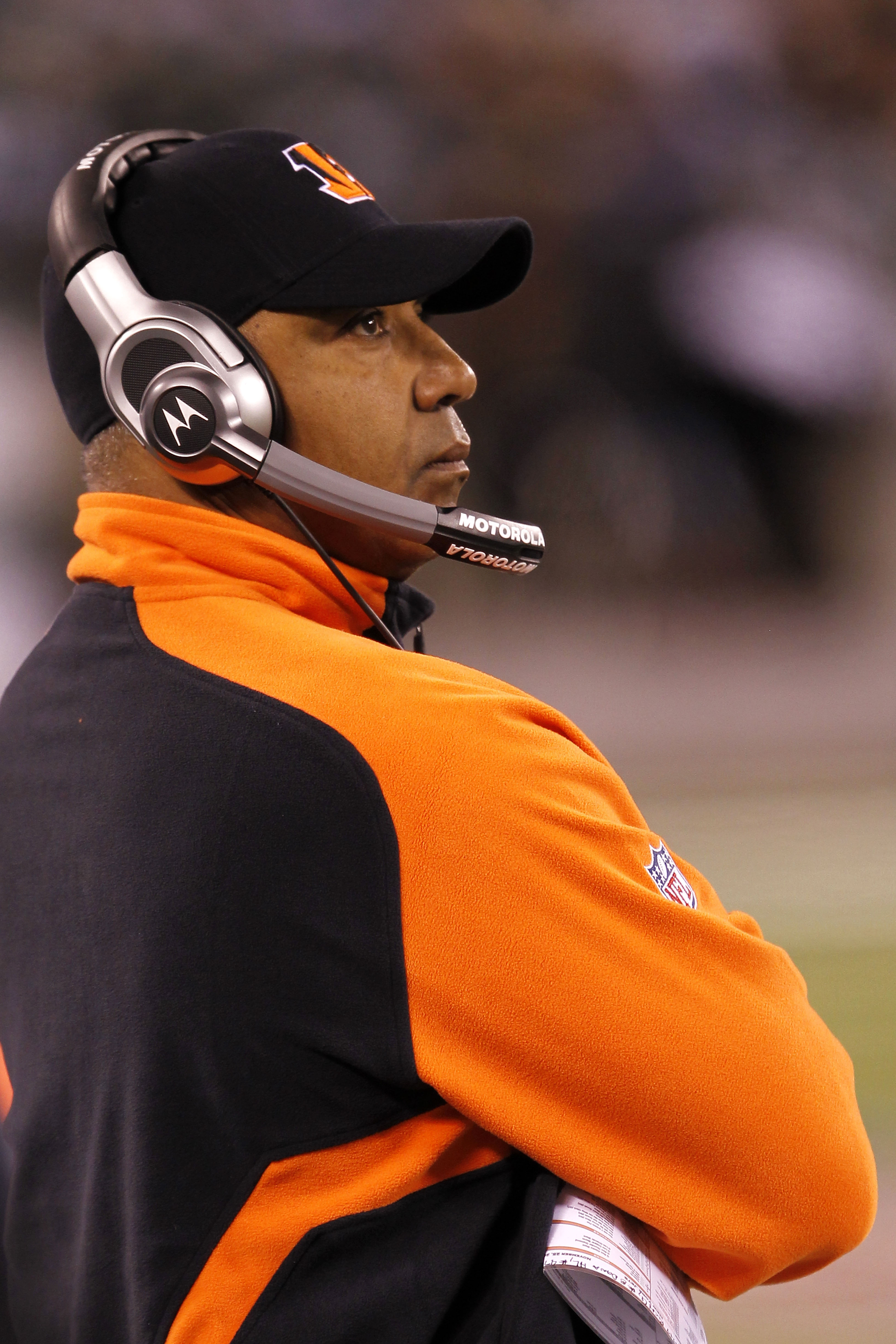 EAST RUTHERFORD, NJ - NOVEMBER 25: Head Coach Marvin Lewis of the Cincinnati Bengals watches the game against the New York Jets at New Meadowlands Stadium on November 25, 2010 in East Rutherford, New Jersey. The Jets defeated the Bengals 26-10.  (Photo by