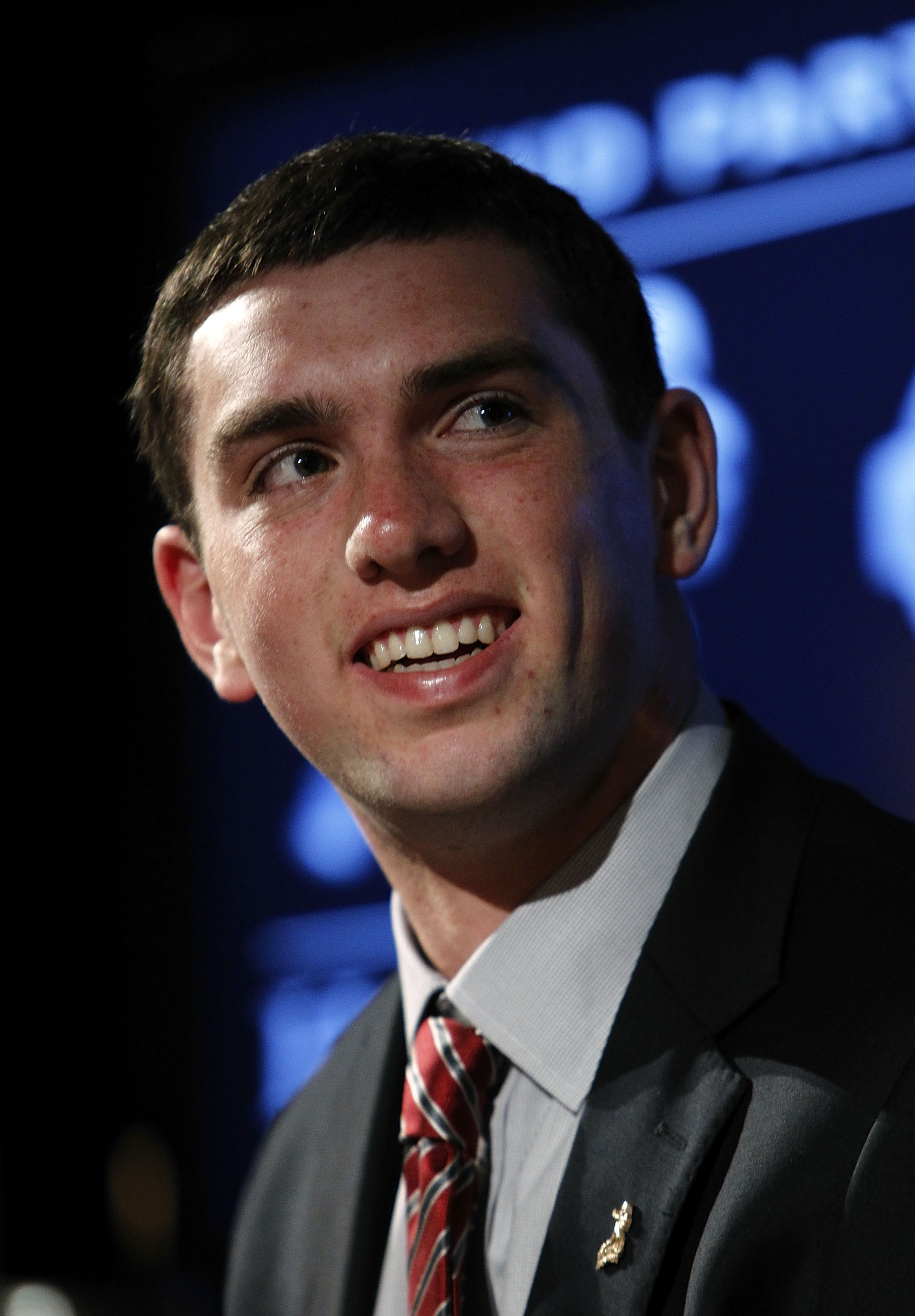 NEW YORK - DECEMBER 11:  2010 Heisman Trophy candidate Andrew Luck of the Stanford University Cardinals listens to a question at a press conference at The New York Marriott Marquis on December 11, 2010 in New York City.  (Photo by Jeff Zelevansky/Getty Im